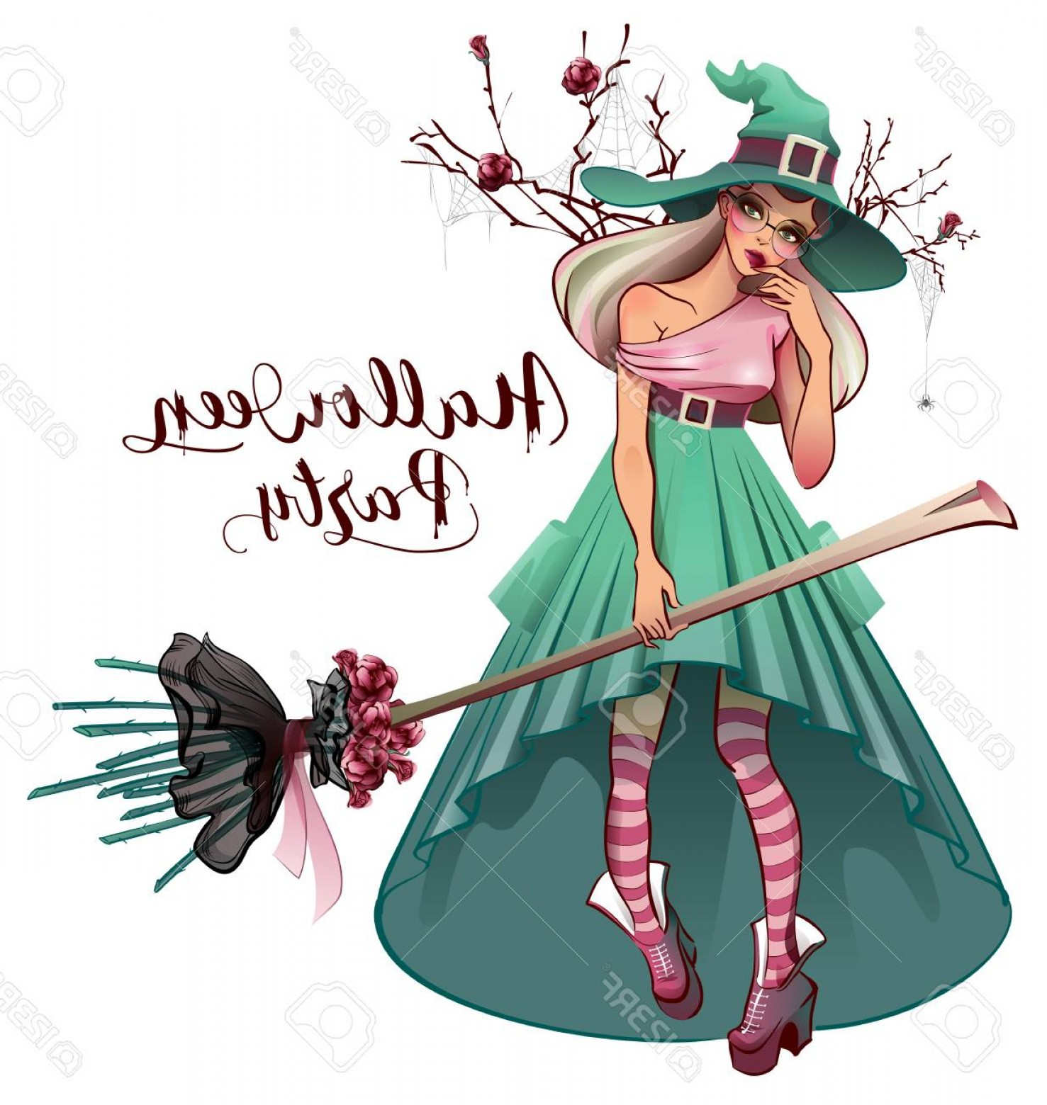Vector Cosplay: Photostock Vector Cosplay Fashionable Dress For Halloween Party Beautiful Young Woman Witch With Broom Isolated On Whi