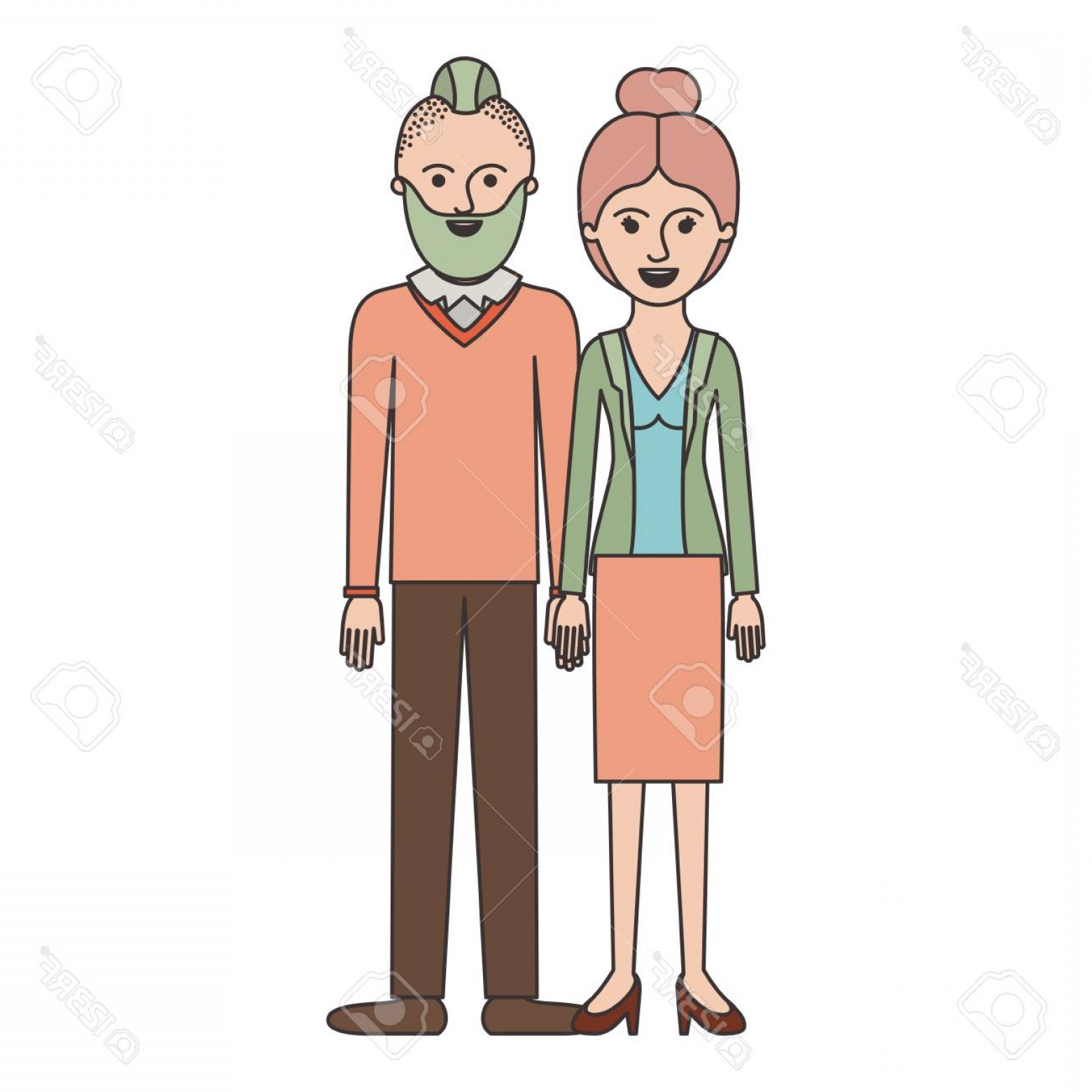 Vector Male Fade Hair: Photostock Vector Couple Colorful Silhouette And Her With Blouse And Jacket And Skirt And Heel Shoes With Collected Ha
