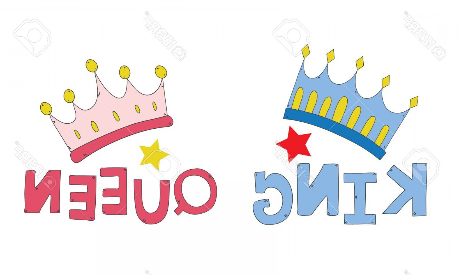 King And Queen Vector: Photostock Vector Couple Crown King And Queen Hand Drawn For T Shirt Couple Or Decorate Vector