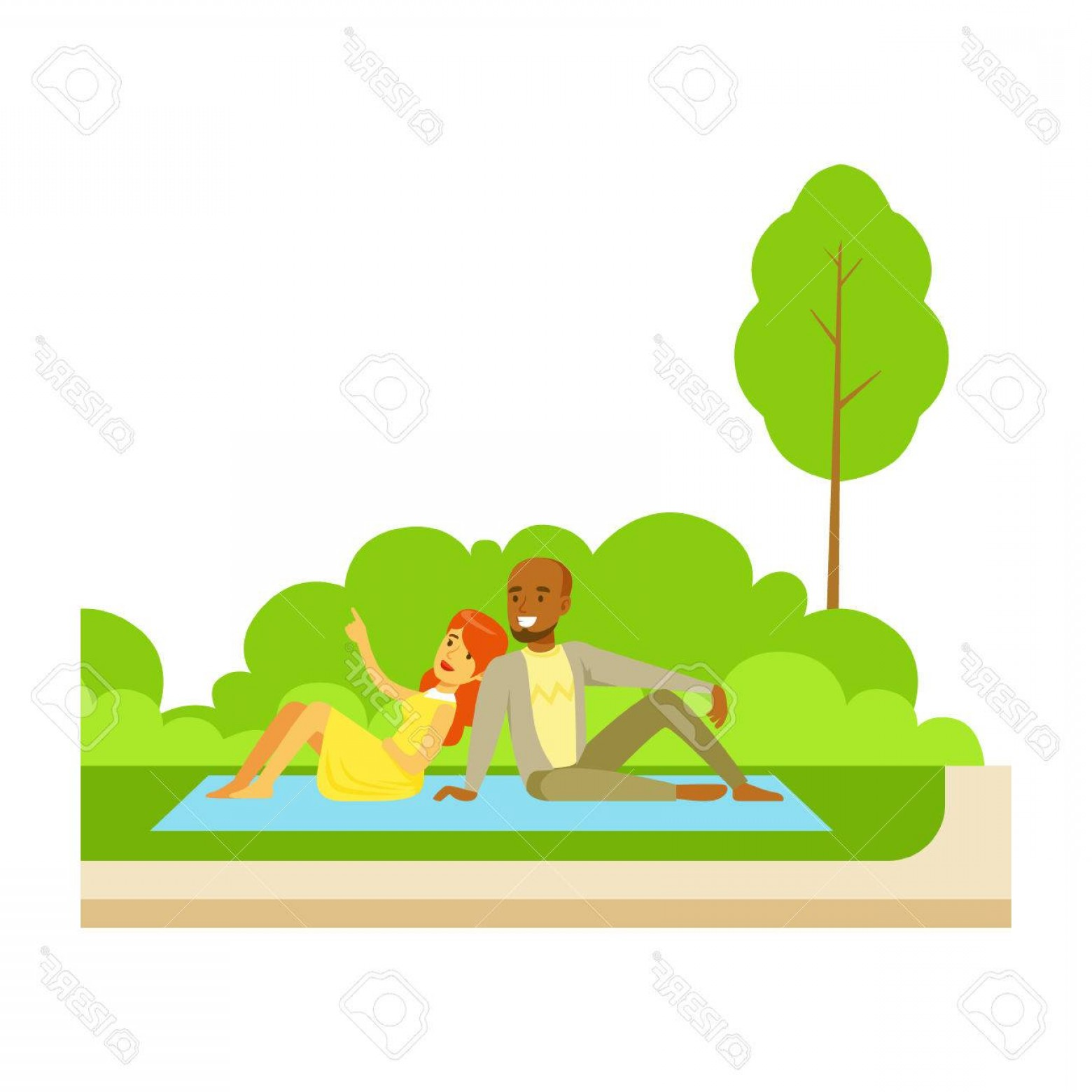 Picnic Vector Scenery: Photostock Vector Couple Having Picnic On Grass Part Of People In The Park Activities Series Smiling Characters Outdoo