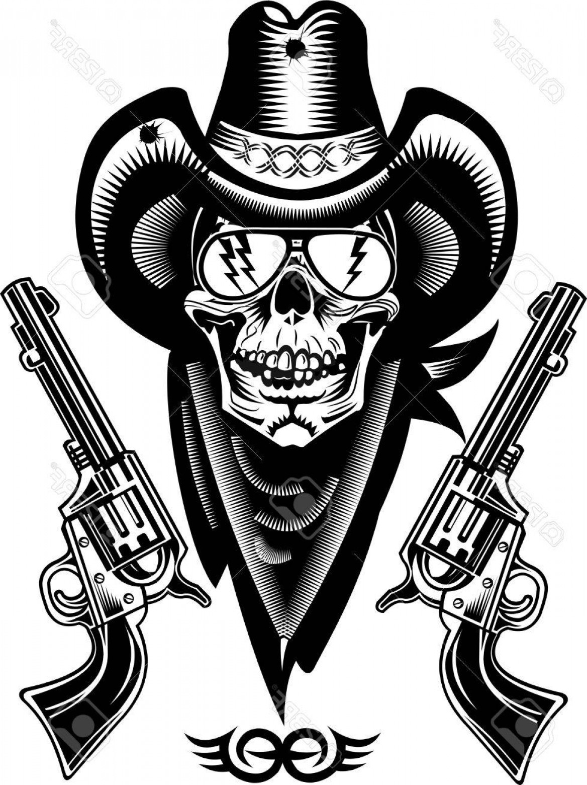 Cowboys Line Drawings Vector: Photostock Vector Cowboy Skull And Revolver