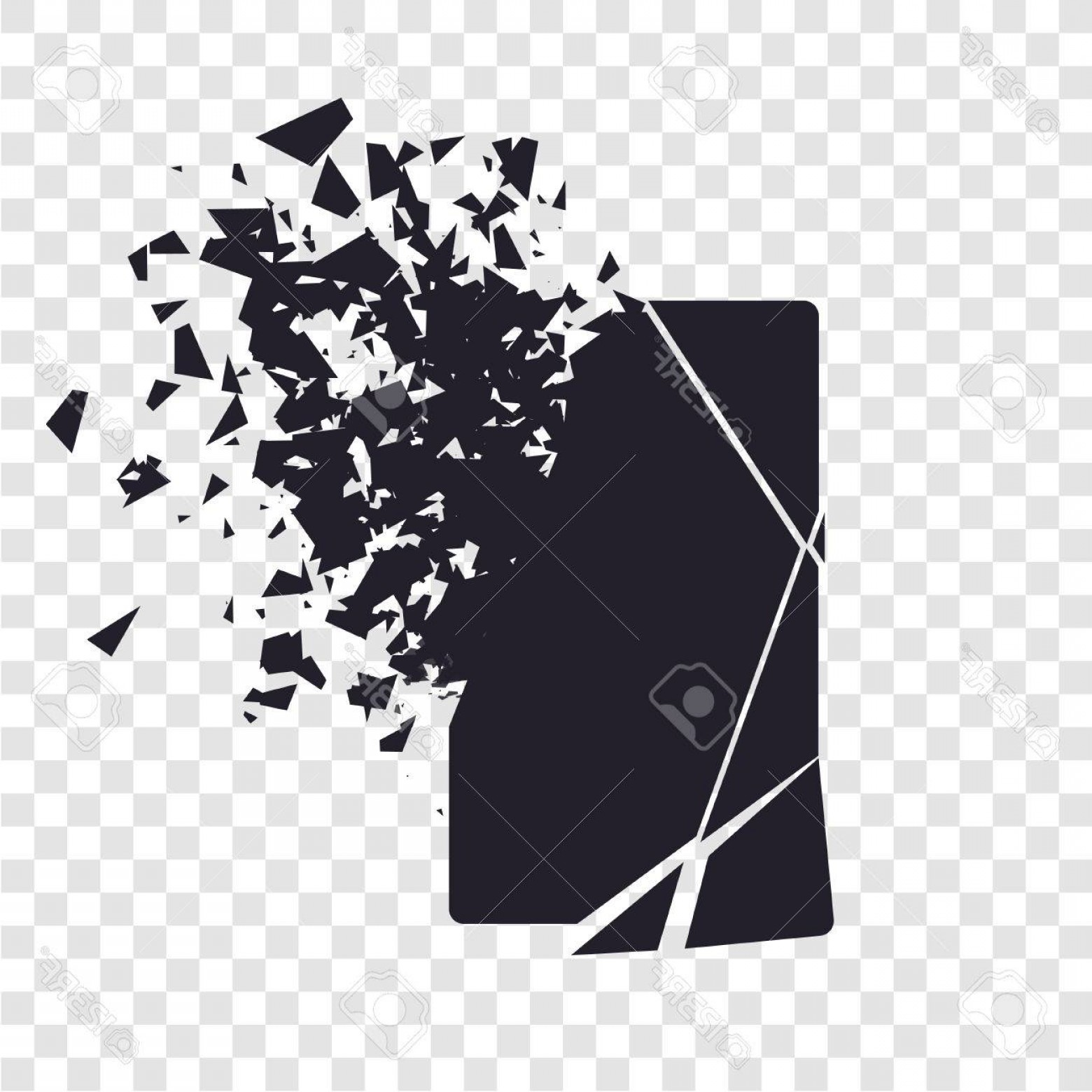 Vector Broken Pieces: Photostock Vector Cracked Phone Screen Shatters Into Pieces Broken Smartphone Split By The Explosion Display Of The Ph