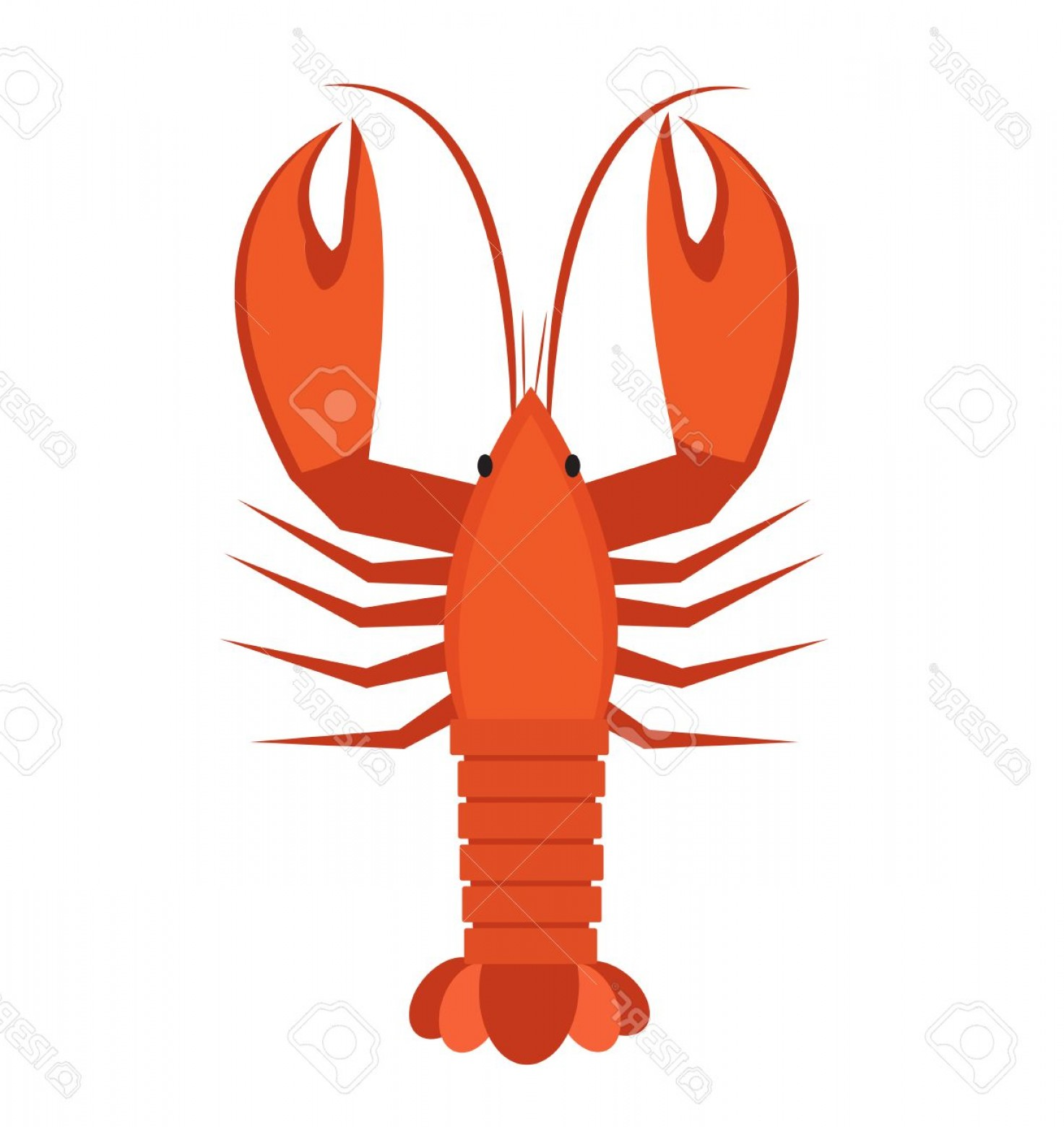 Lobster Clip Art Vector: Photostock Vector Crawfish Icon Flat Style Lobster Isolated On White Background Vector Illustration Clip Art