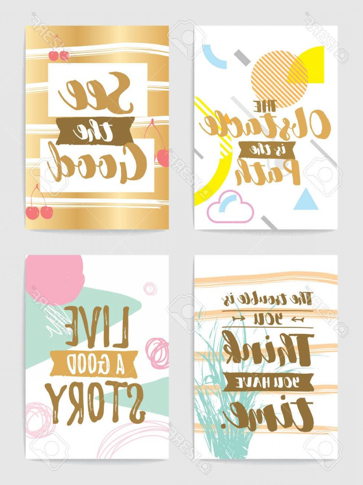 Inspirational Backgrounds Vector: Photostock Vector Creative Cards With Inspirational Quotes On Abstract Geometric Backgrounds Trendy Hipster Style Moti