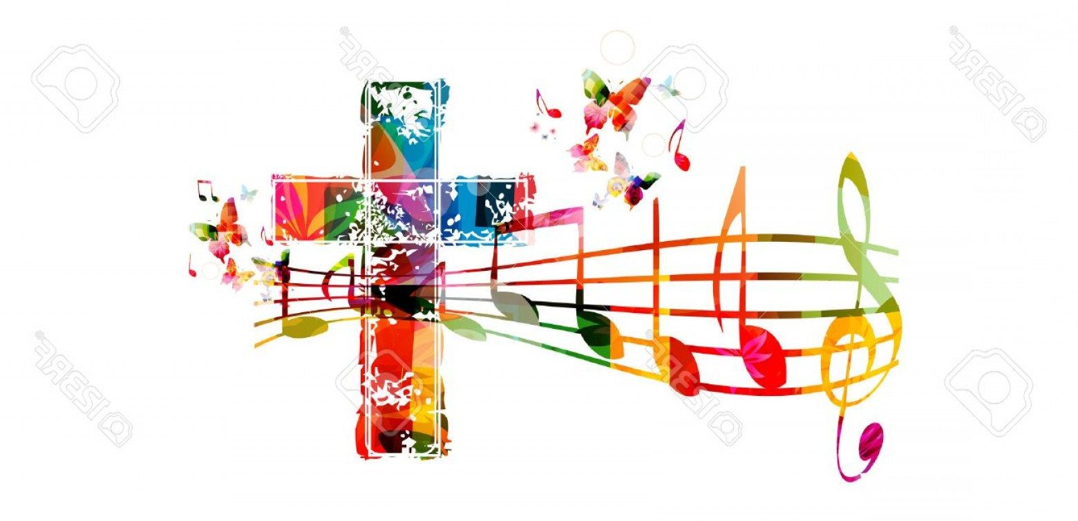 Gospel Music Background Vector: Photostock Vector Creative Music Style Template Vector Illustration Colorful Cross With Music Staff And Notes Backgrou