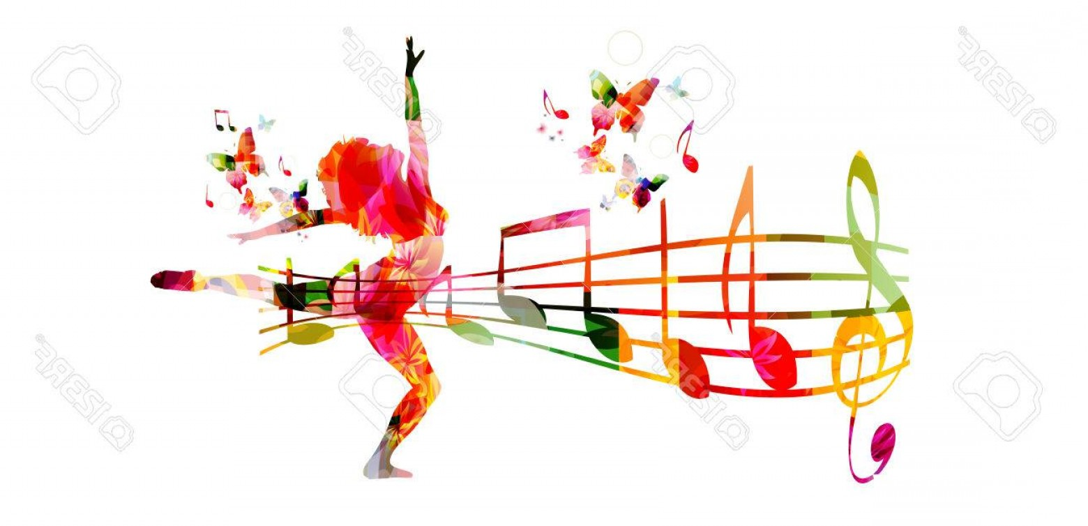 Dancing Musical Notes Vector: Photostock Vector Creative Music Style Template Vector Illustration Colorful Music Staff And Notes With Woman Silhouet