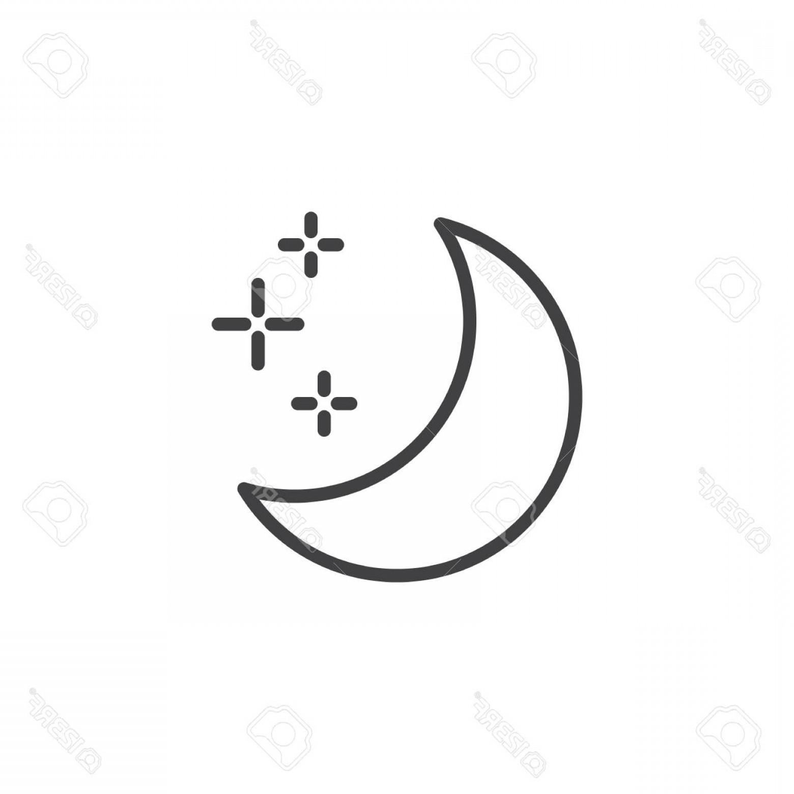 Simple Moon Vector Art: Photostock Vector Crescent Moon Outline Icon Linear Style Sign For Mobile Concept And Web Design Moon And Stars Simple