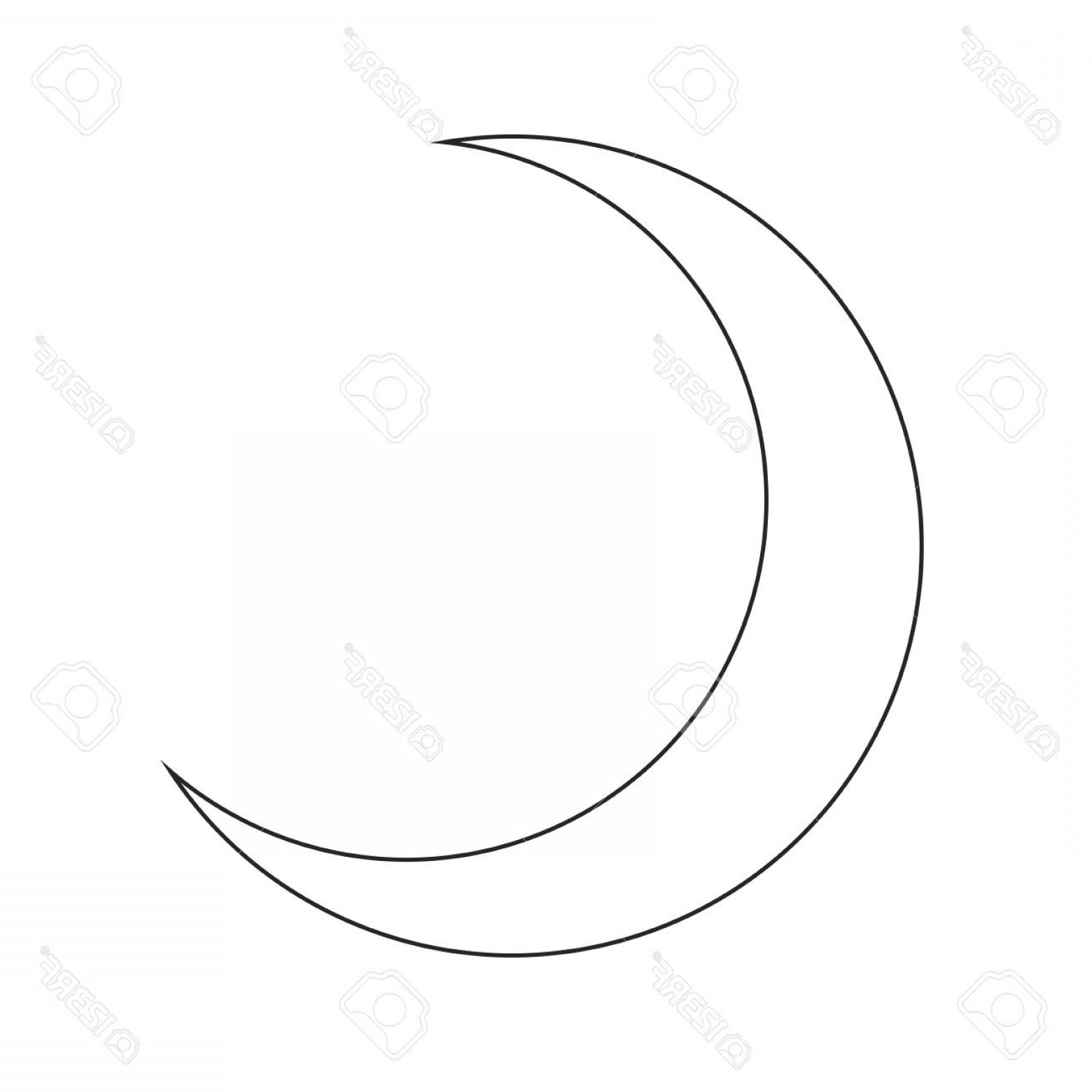 Cresent Moon Vector: Photostock Vector Crescent Moon Silhouette Vector Symbol Icon Design Beautiful Illustration Isolated On White Backgrou
