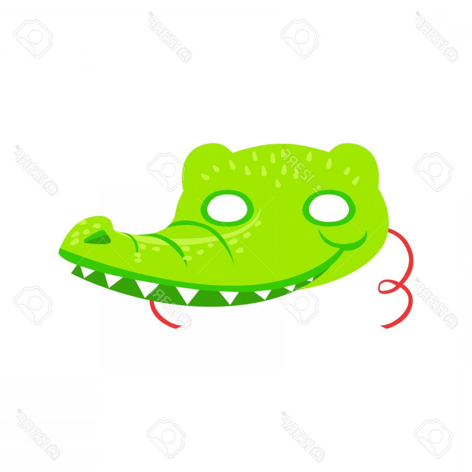 Vector The Crocodile Costume: Photostock Vector Crocodile Animal Head Mask Kids Carnival Disguise Costume Element