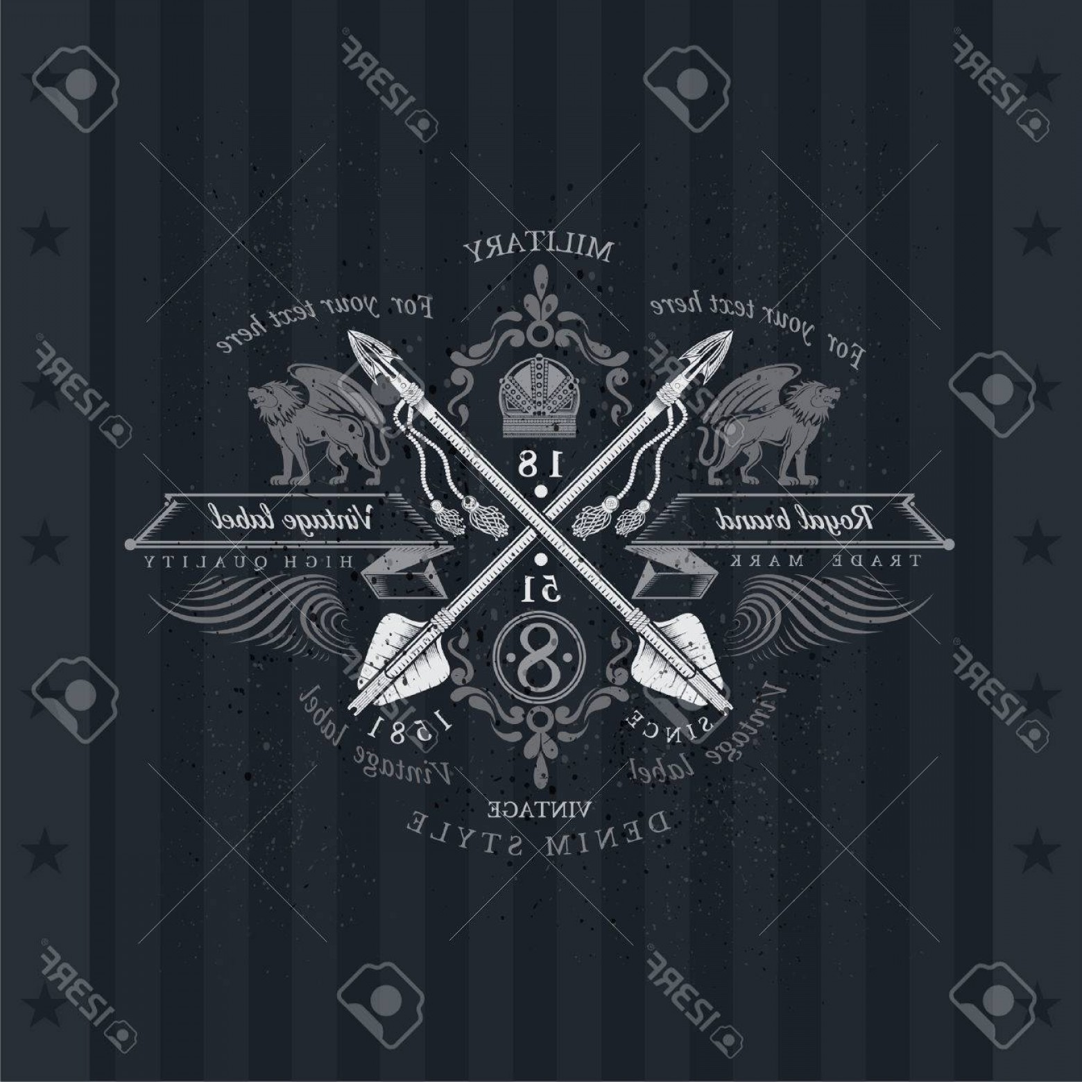 Scotland Heraldic Vector Graphic: Photostock Vector Cross Arrows With Ribbons And Two Lions On Both Sides Military Heraldic Label On Blackboard