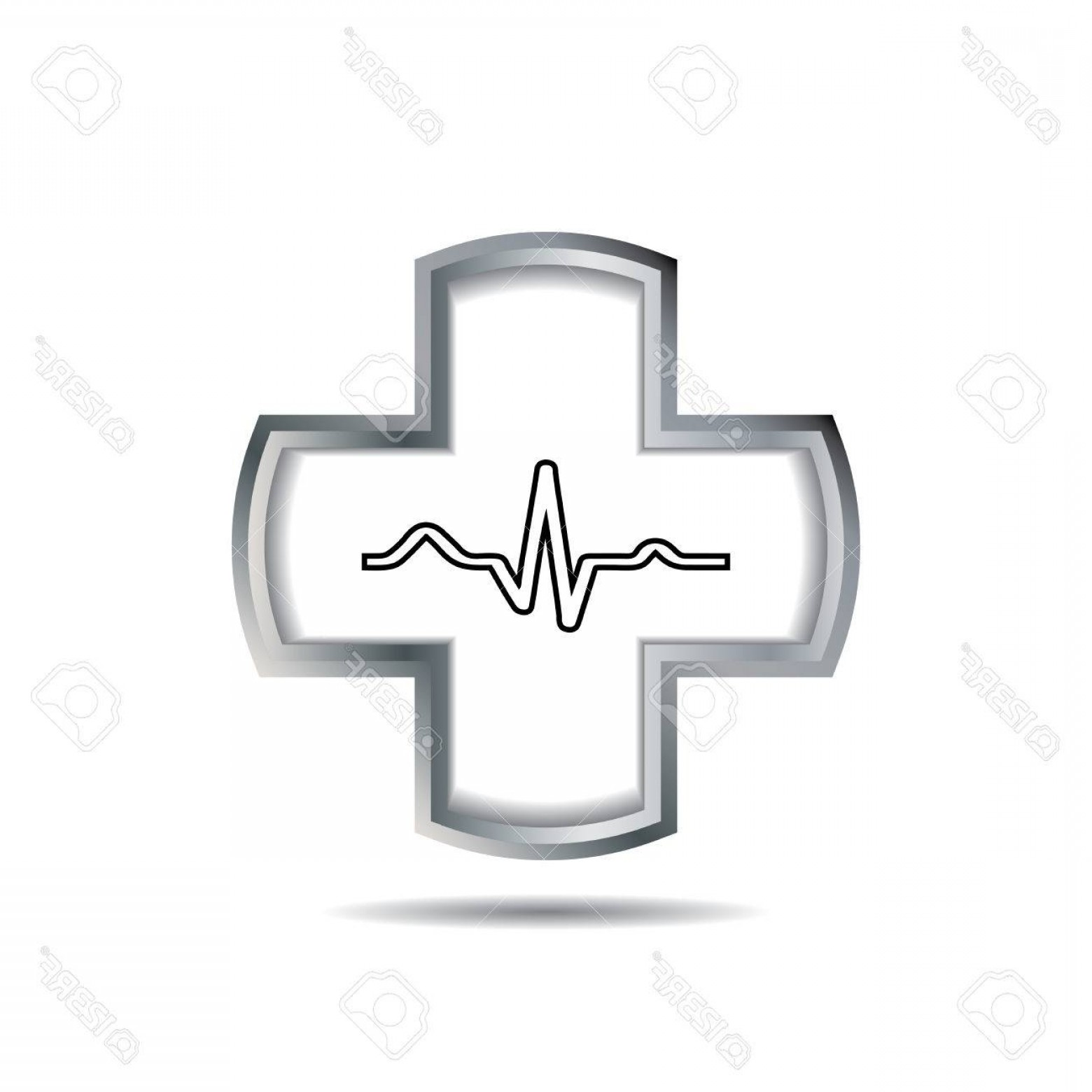 Heart With EKG Line Vector: Photostock Vector Cross With Heart And Ekg Line Vector