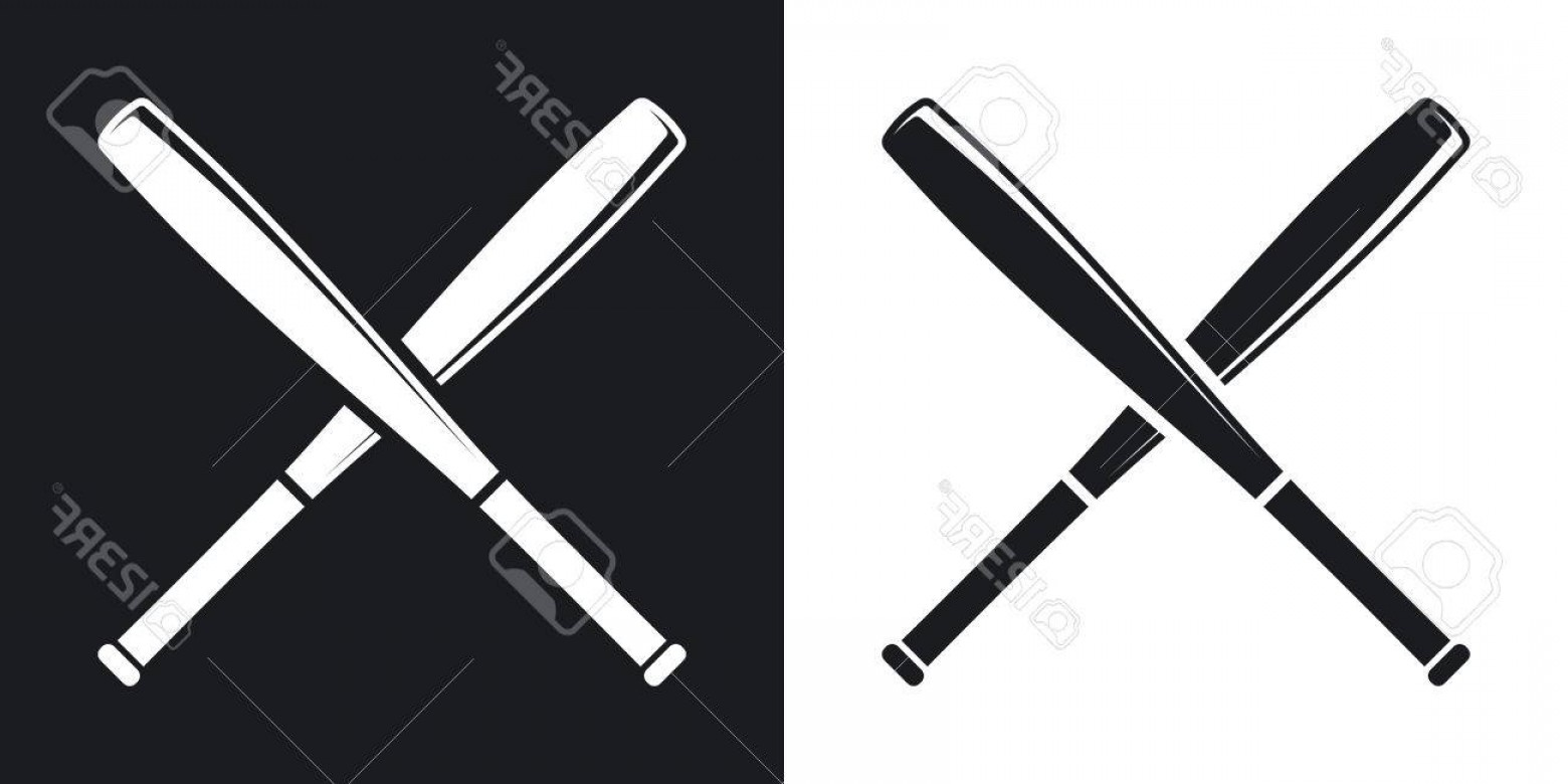 Vector Baseball Cross: Photostock Vector Crossed Baseball Bats Icon Two Tone Version On Black And White Background