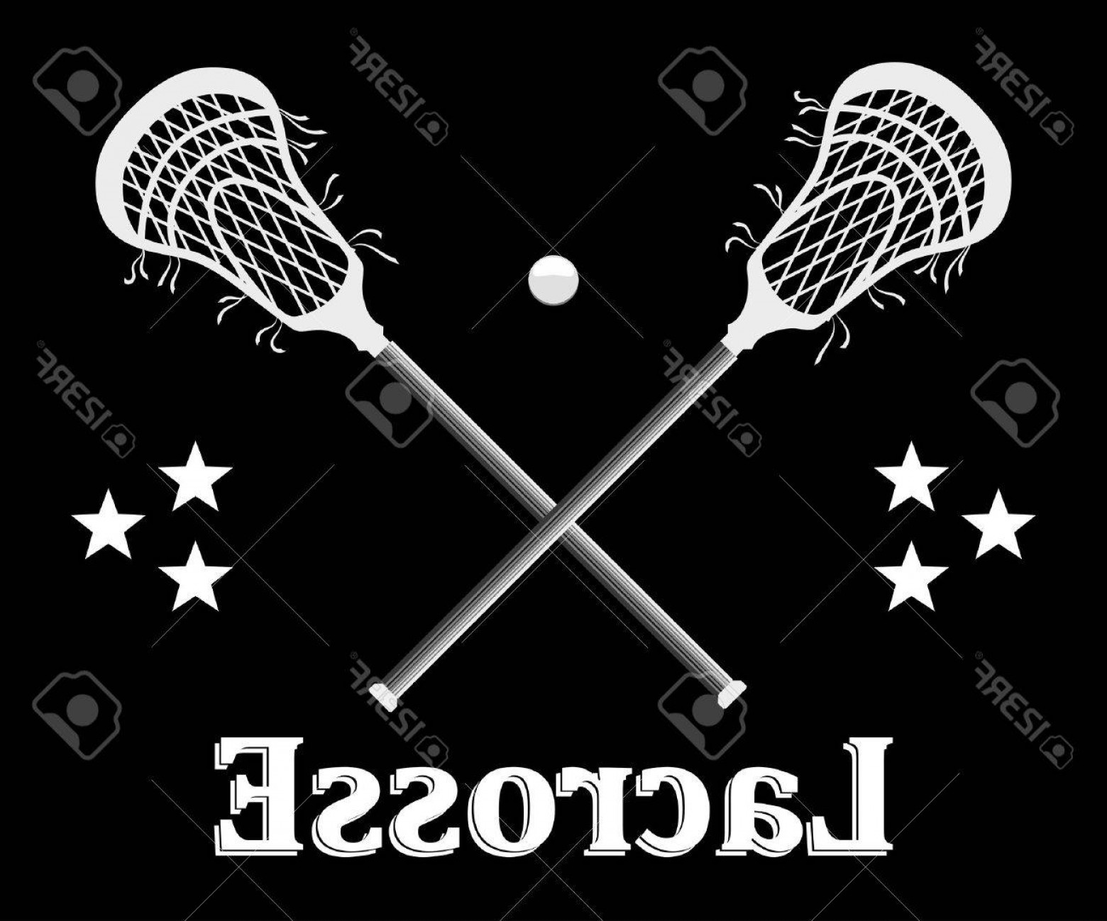 Lacrosse Stick Vector: Photostock Vector Crossed Lacrosse Stick And Ball On A Black Background