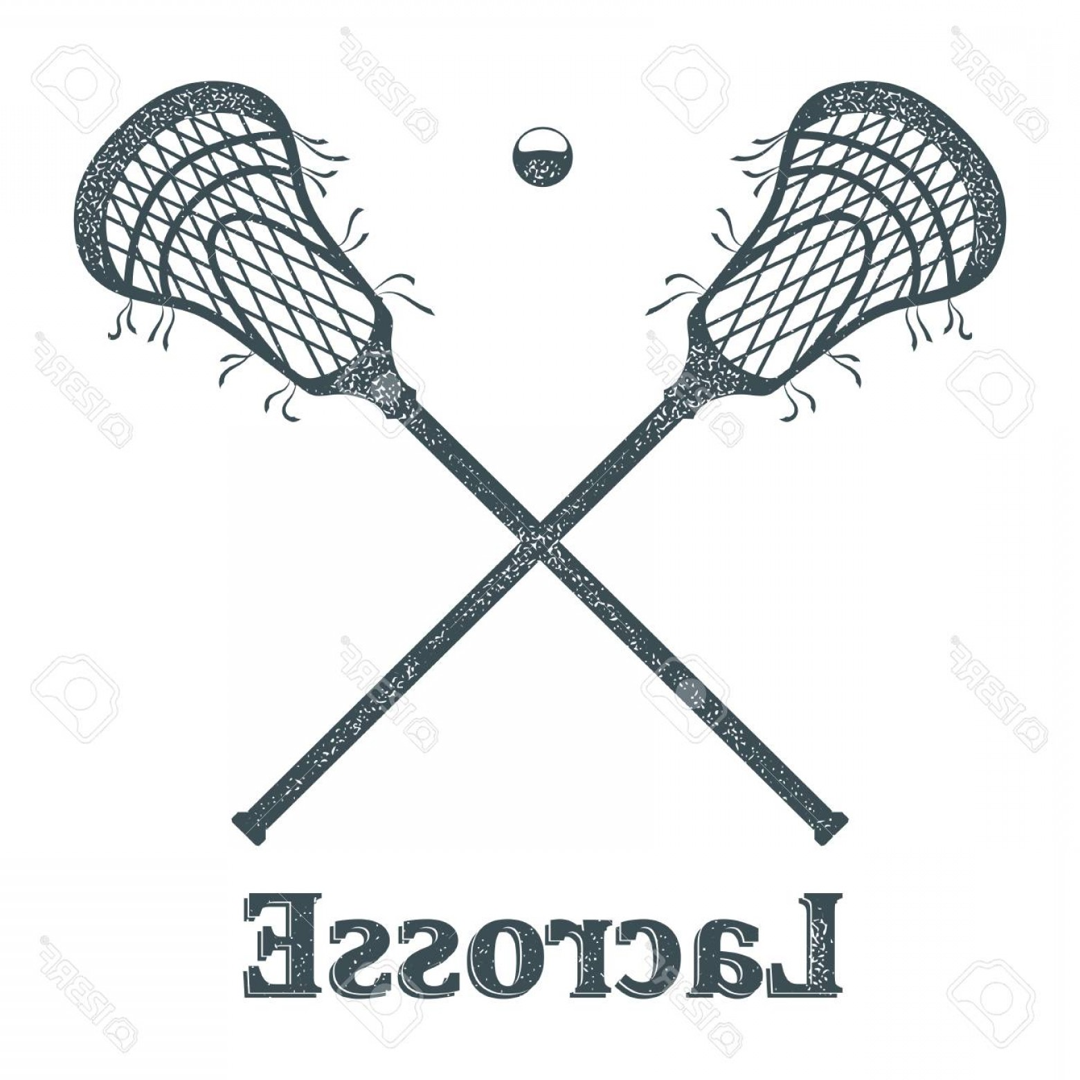 Lacrosse Stick Vector: Photostock Vector Crossed Lacrosse Stick And Ball With Grunge Texture On White Background Objects Sports Club Symbol S
