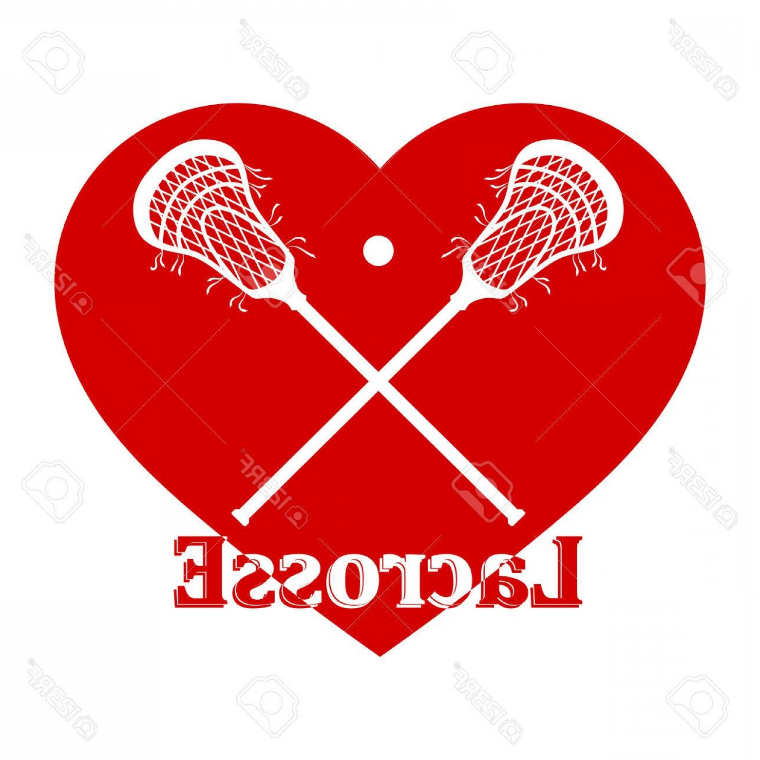 Lacrosse Stick Vector: Photostock Vector Crossed Lacrosse Stick Ball And Red Heart Vector Illustration
