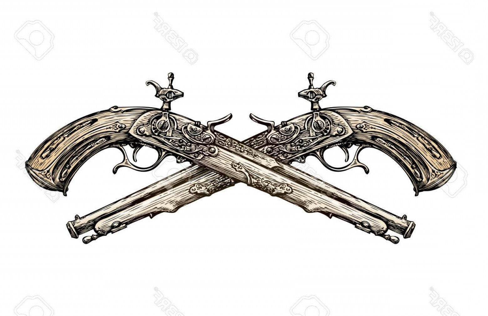Vintage Crossed Pistols Vector: Photostock Vector Crossed Vintage Pistols Hand Drawn Sketch Ancient Weapon Duel Vector Illustration