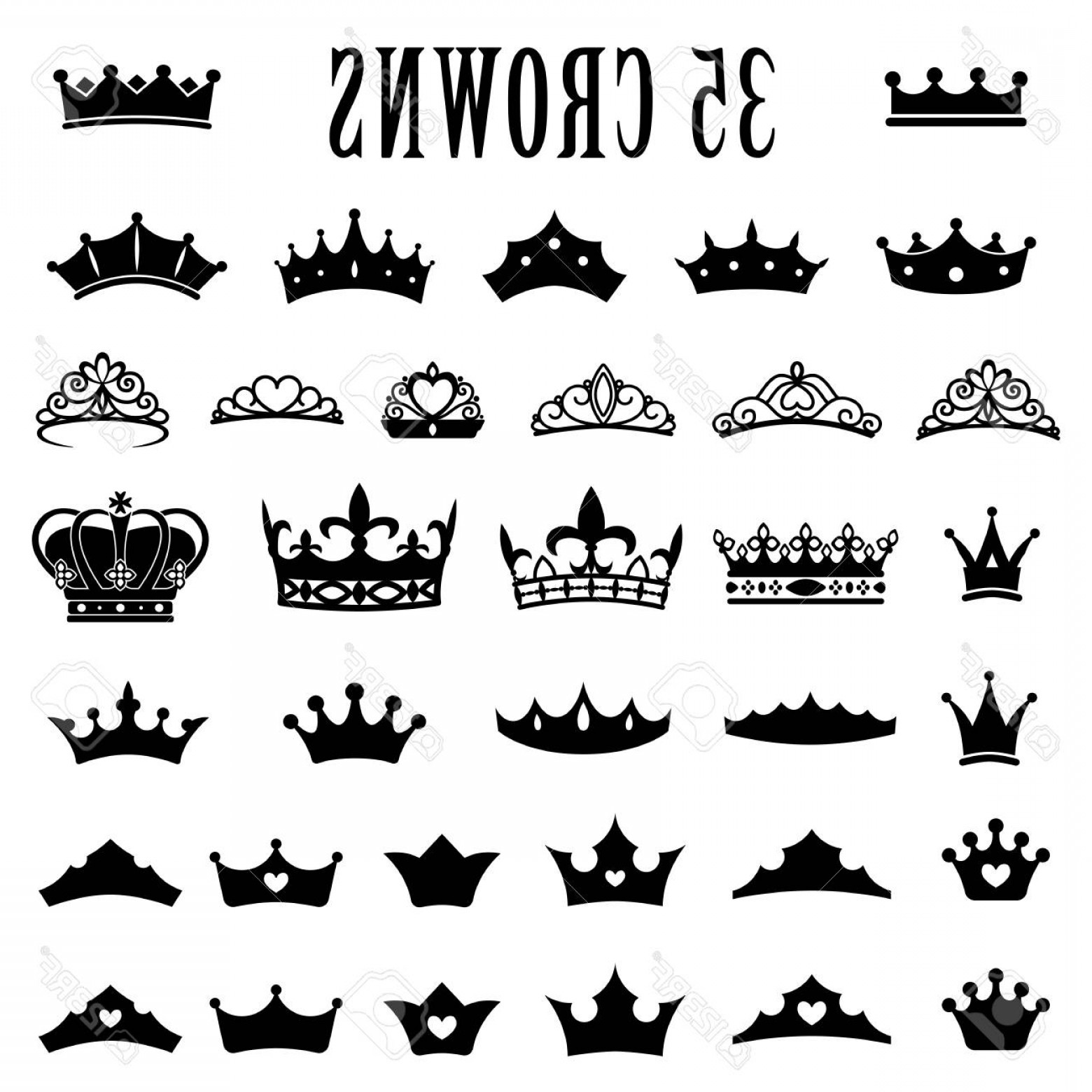 Princess Crown Vector Graphic: Photostock Vector Crown Icons Princess Crown King Crowns Icon Set Antique Crowns Vector Illustration Flat Style Silhou
