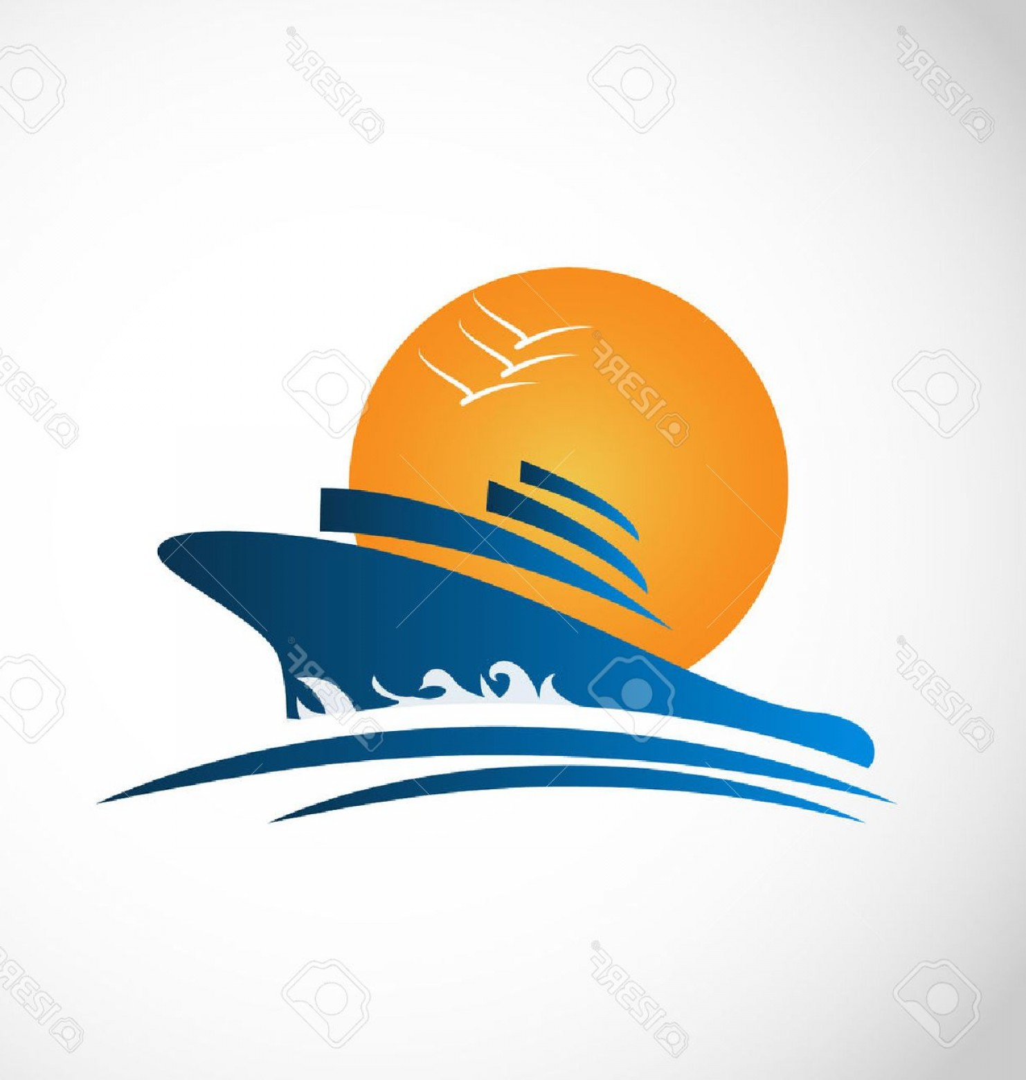 Waves With Cruise Ship Silhouette Vector: Photostock Vector Cruise Ship Sun And Waves Identity Card Icon Vector
