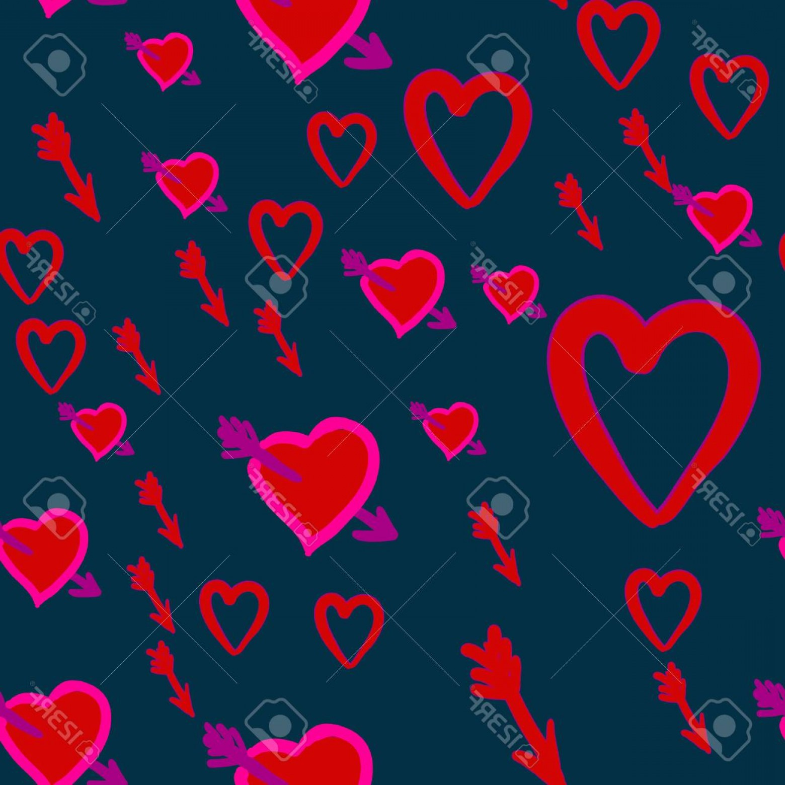 Hunting Heart Vector: Photostock Vector Cupid Hunt Valentine S Day Pattern With Cupid S Arrows In Hearts Vector Illustration Concept Stupid