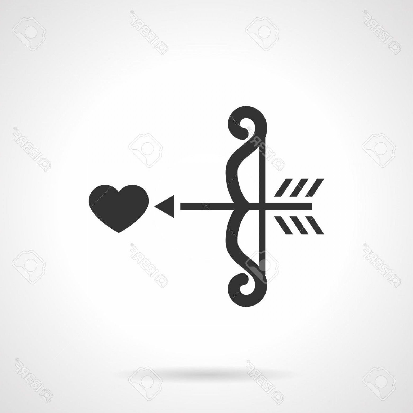 Love With Arrows Vector: Photostock Vector Curved Cupid Bow With Arrow Aiming Heart Amor Arrows Love Symbol Wedding Flat Black Style Single Vec