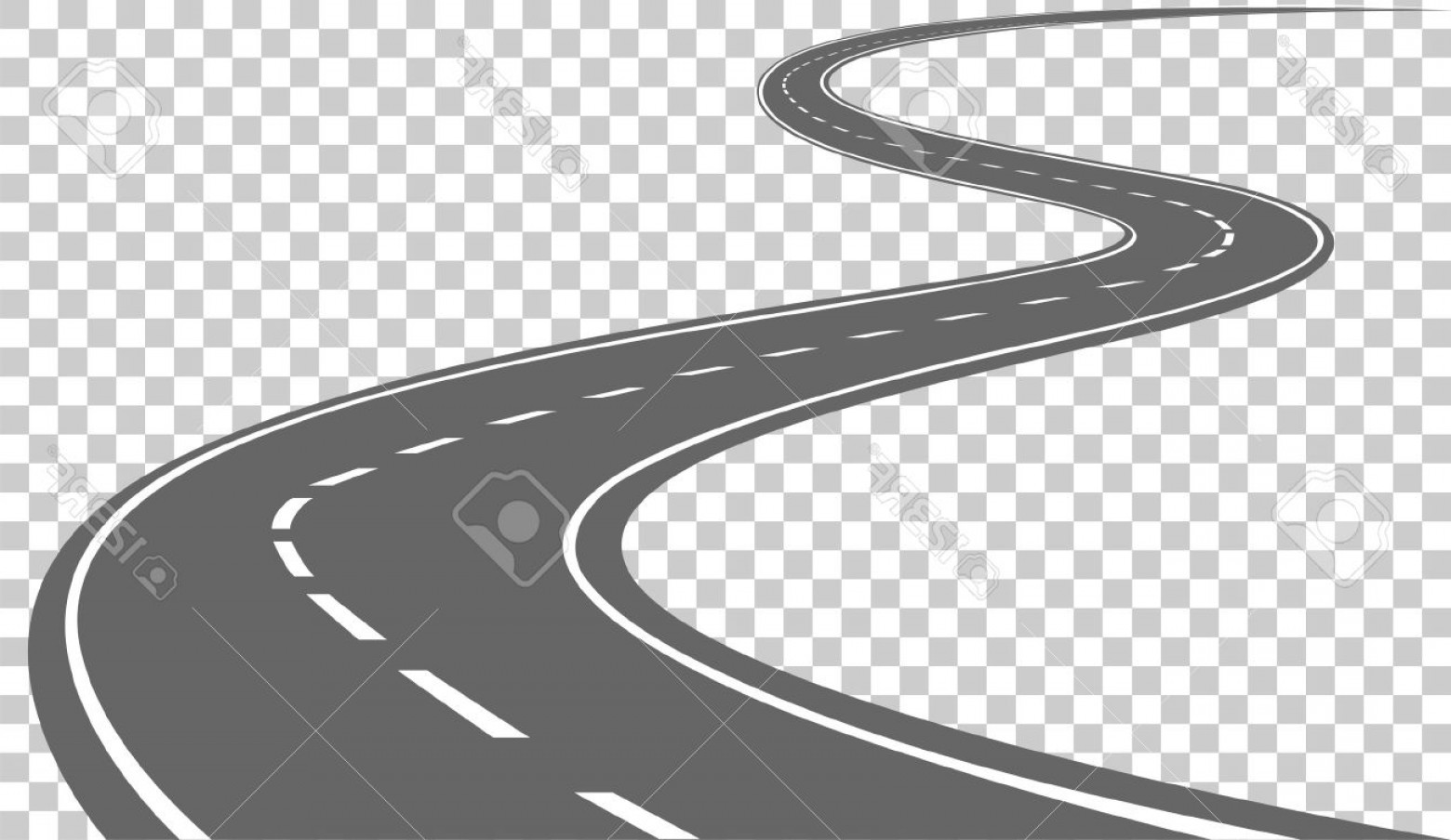 Transparent Curved Road Vector: Photostock Vector Curved Road With White Markings Vector Illustration