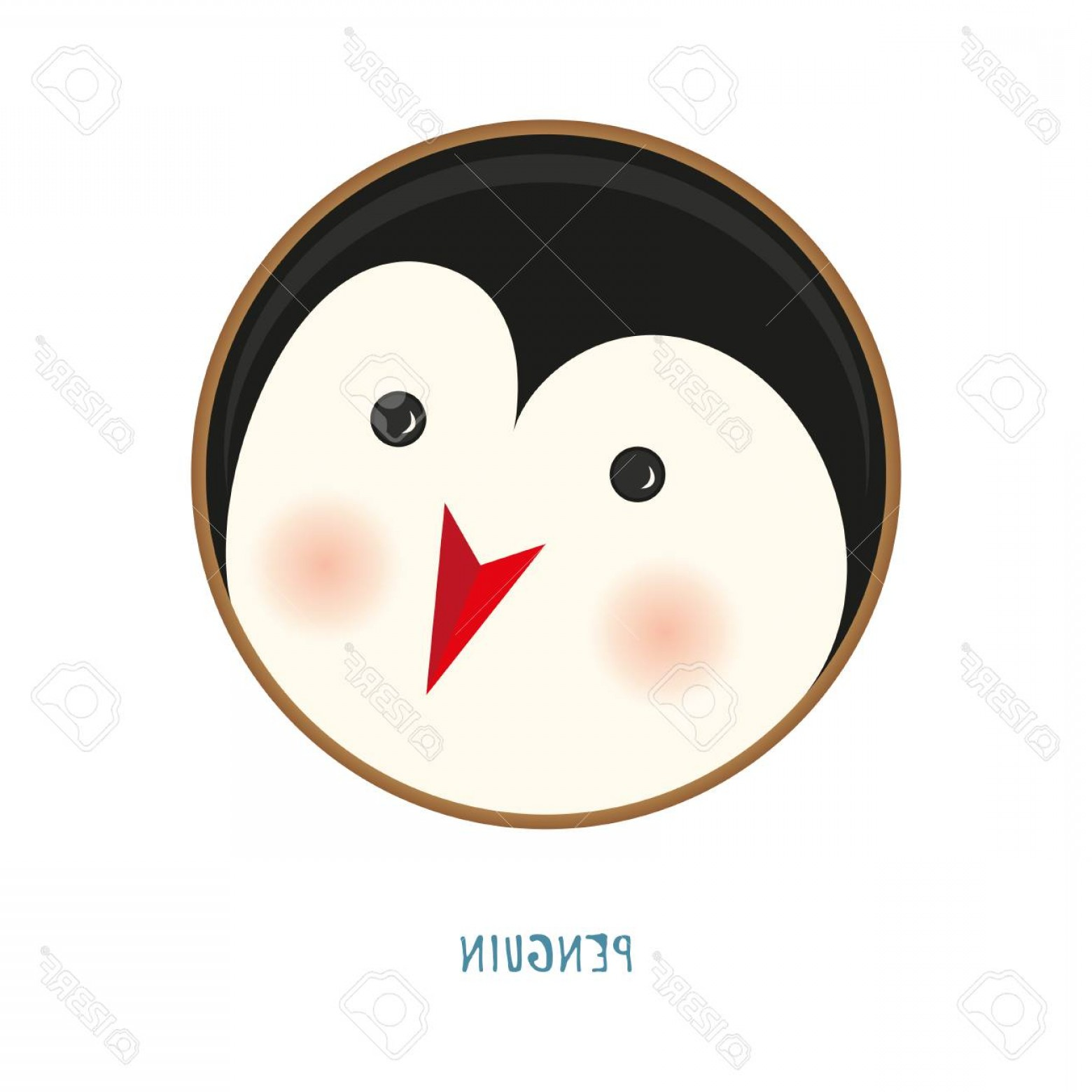 Vector Eyes At Ccute: Photostock Vector Cute Animal Icon On White Background Ring Badge Label Penguin Funny Christmas Cartoon Zoo Character