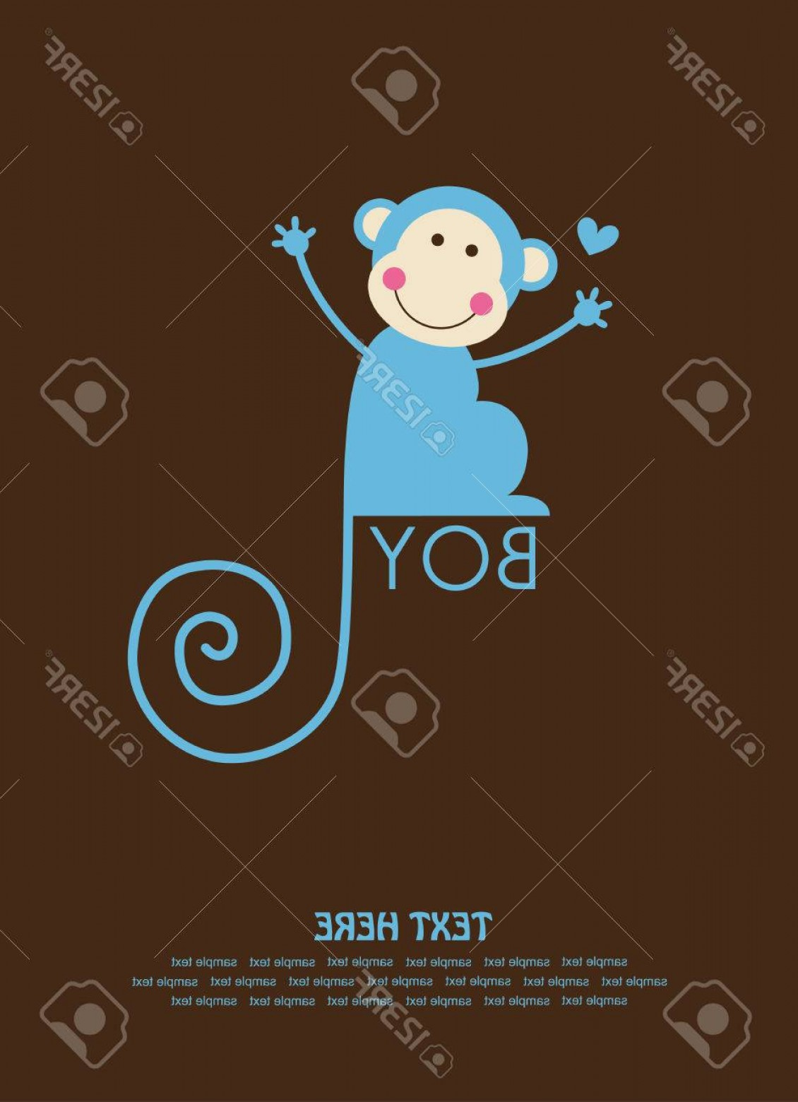 Sitting Monkey Vector Baby Shower: Photostock Vector Cute Baby Boy Shower With Fun Monkey