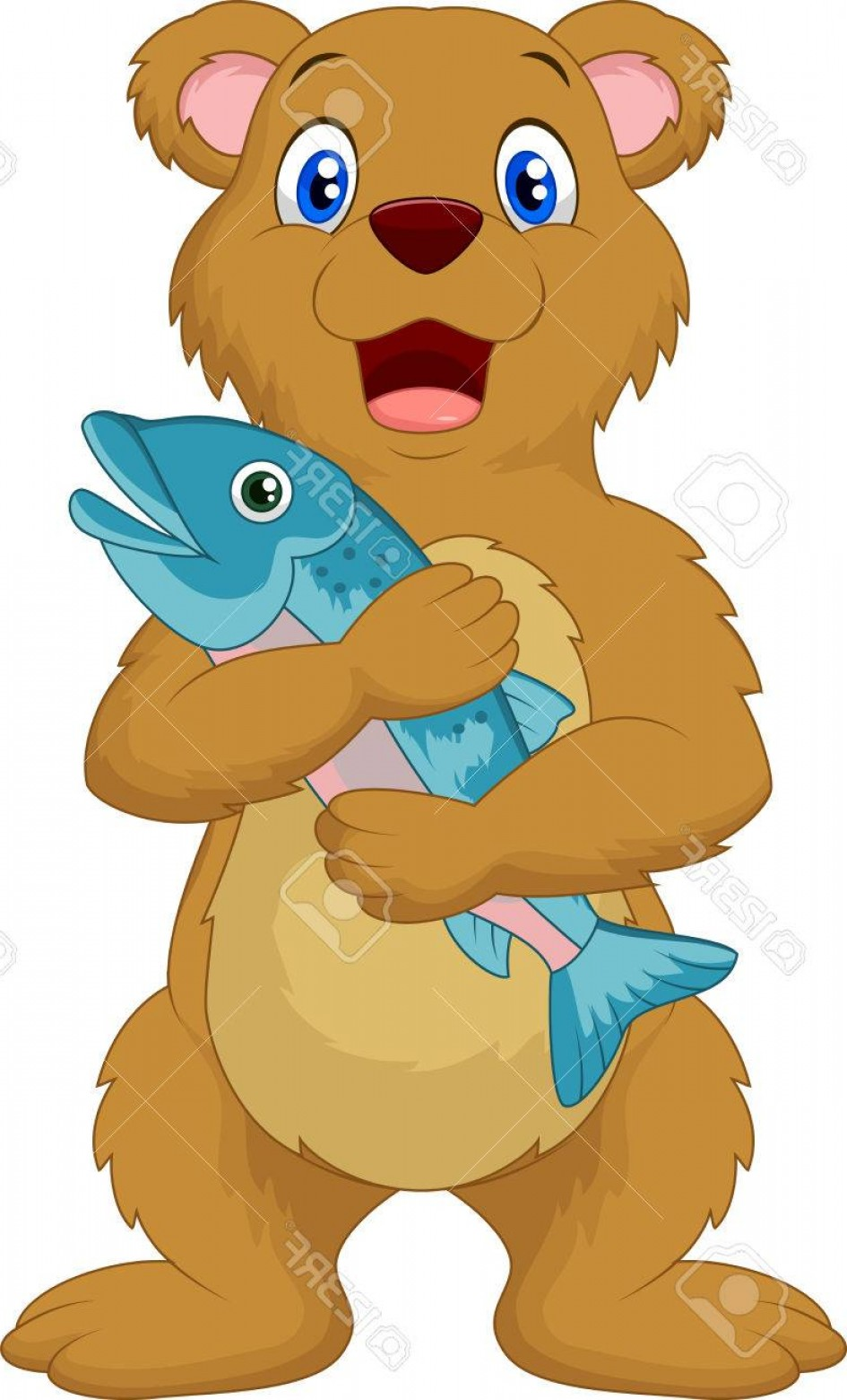 Vector Art Bear With Salmon: Photostock Vector Cute Bear Cartoon Holding Salmon Fish