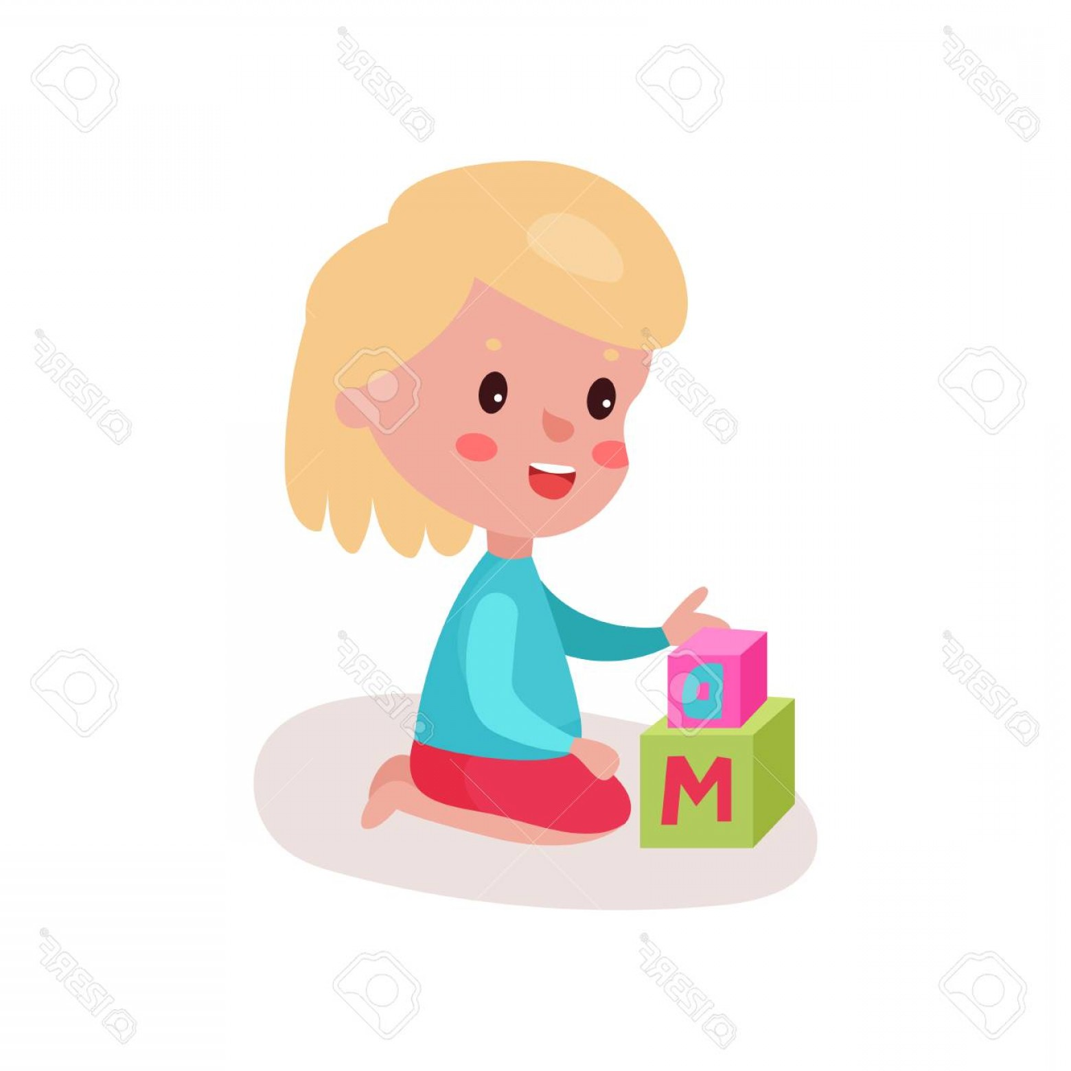 Vector Block Play: Photostock Vector Cute Blonde Little Girl Sitting On The Floor Playing With Block Toys Kid Learning Through Fun And Pl