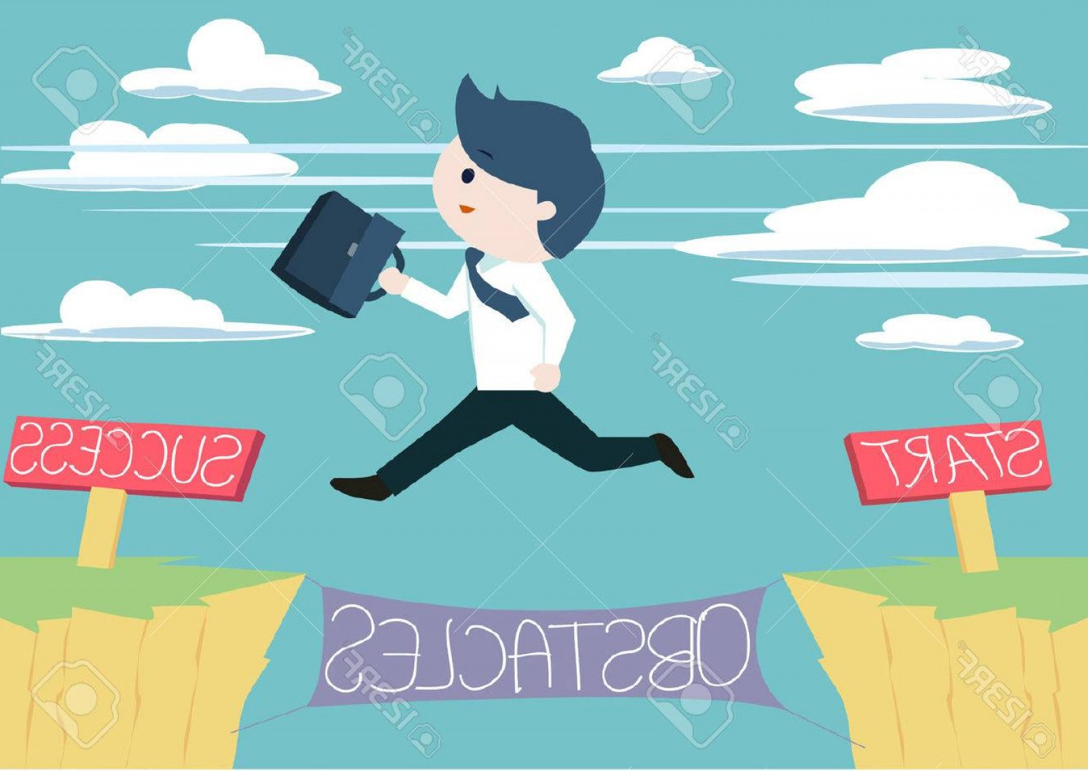 Vector Jump Start Replacement Parts: Photostock Vector Cute Businessman Jump Across The Obstacles From Start To Success Point Cute Business Man Jump Across