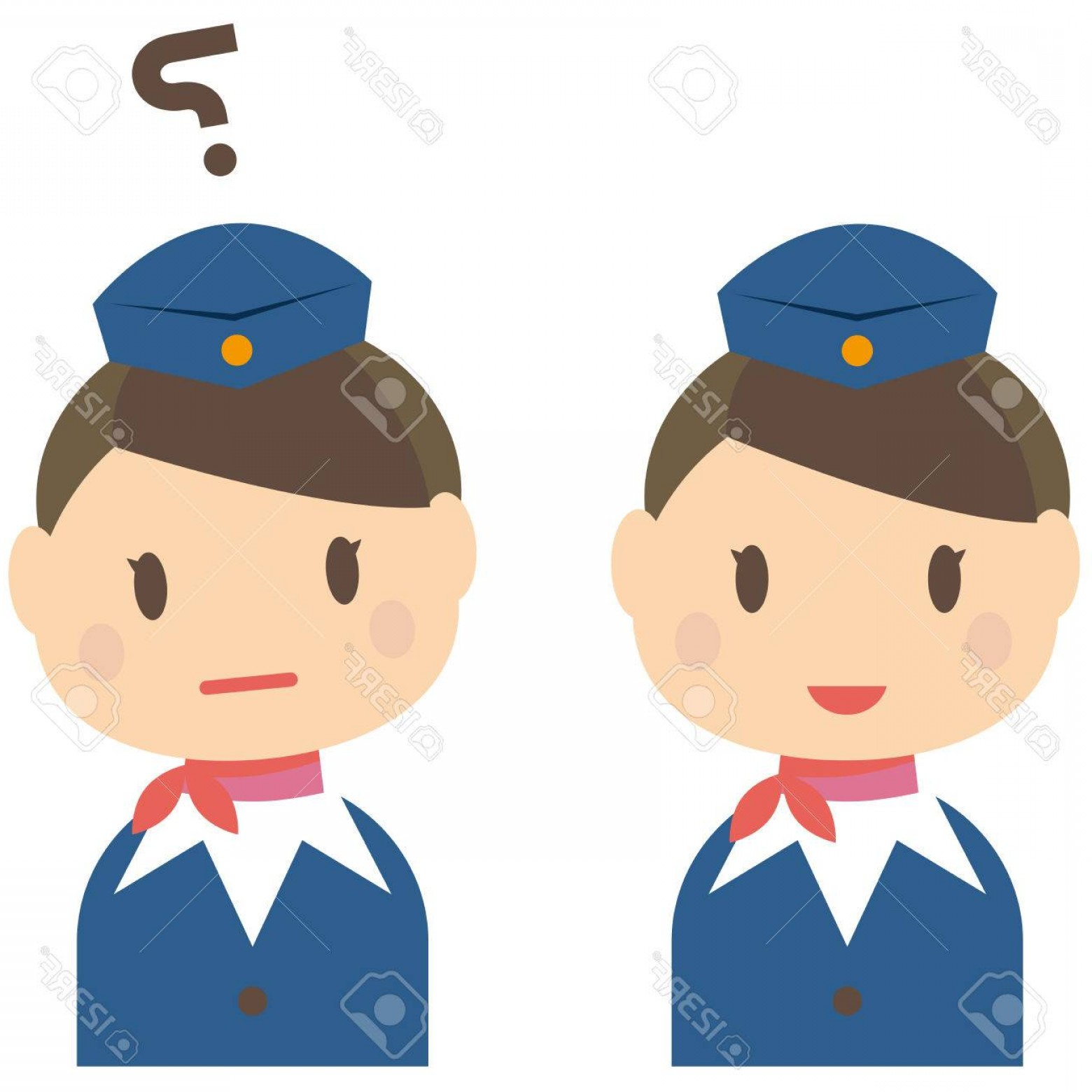 Vector Man Working In Cabin: Photostock Vector Cute Cabin Crew Cabin Attendant Ca Smile And The Question