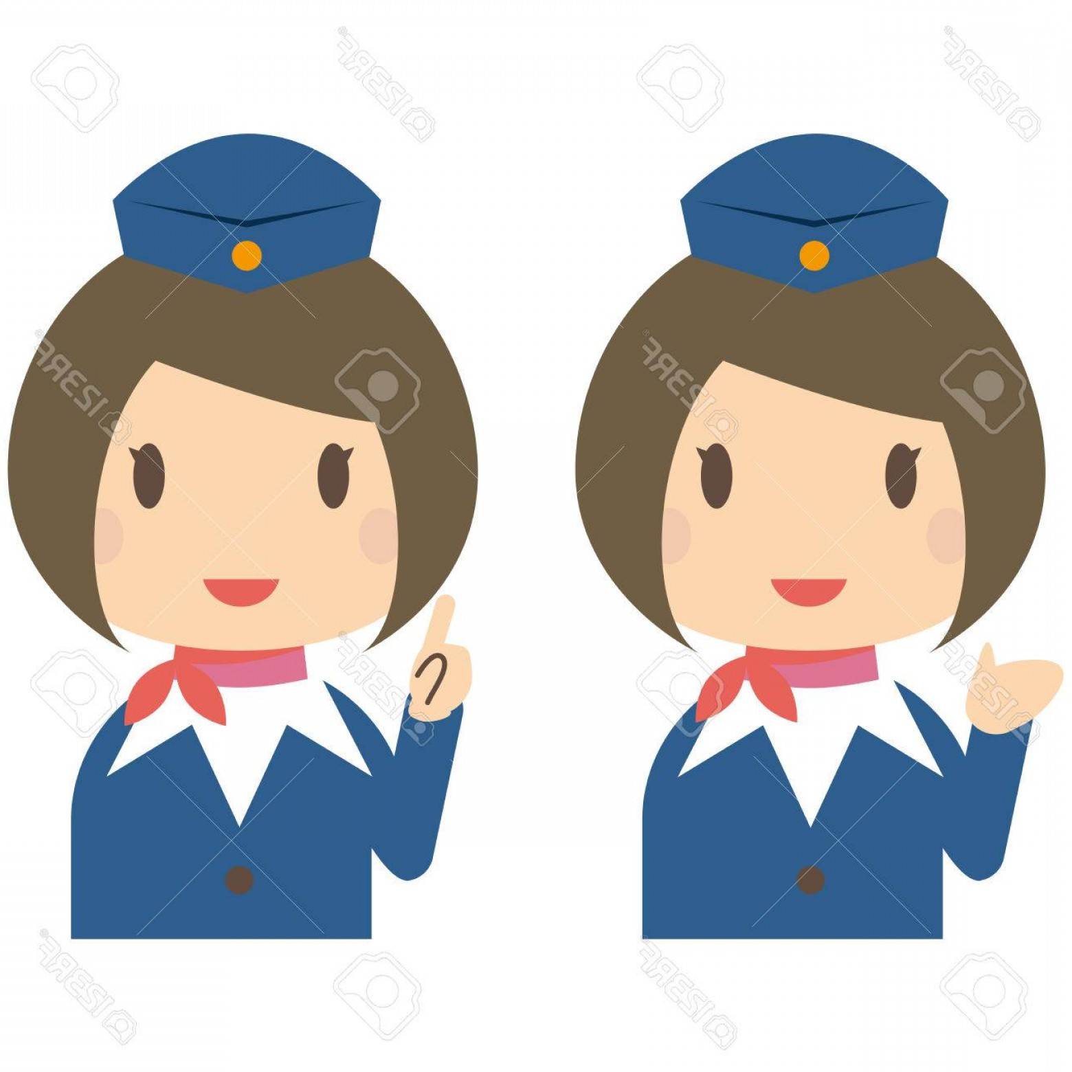 Vector Man Working In Cabin: Photostock Vector Cute Cabin Crew With Bobbed Hair Guidance And Introduction