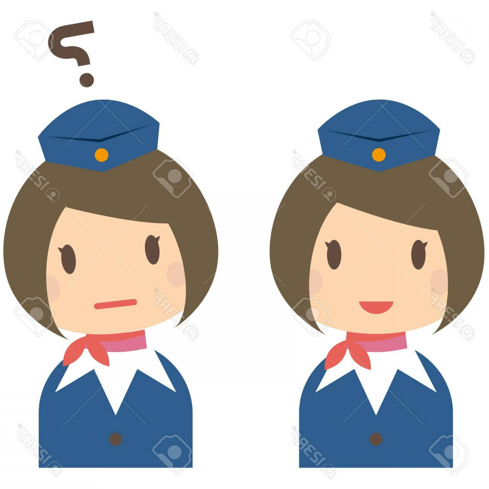 Vector Man Working In Cabin: Photostock Vector Cute Cabin Crew With Bobbed Hair Smile And The Question