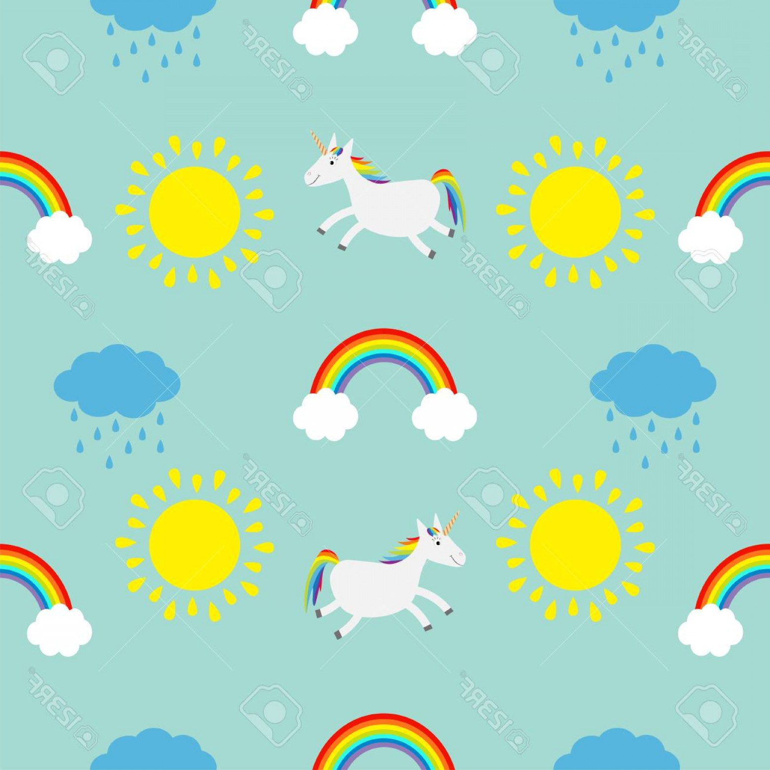 Blue Background Vector Cartoon Sun: Photostock Vector Cute Cartoon Sun Cloud With Rain Rainbow Unicorn Horse Set Baby Seamless Pattern Wrapping Paper Text