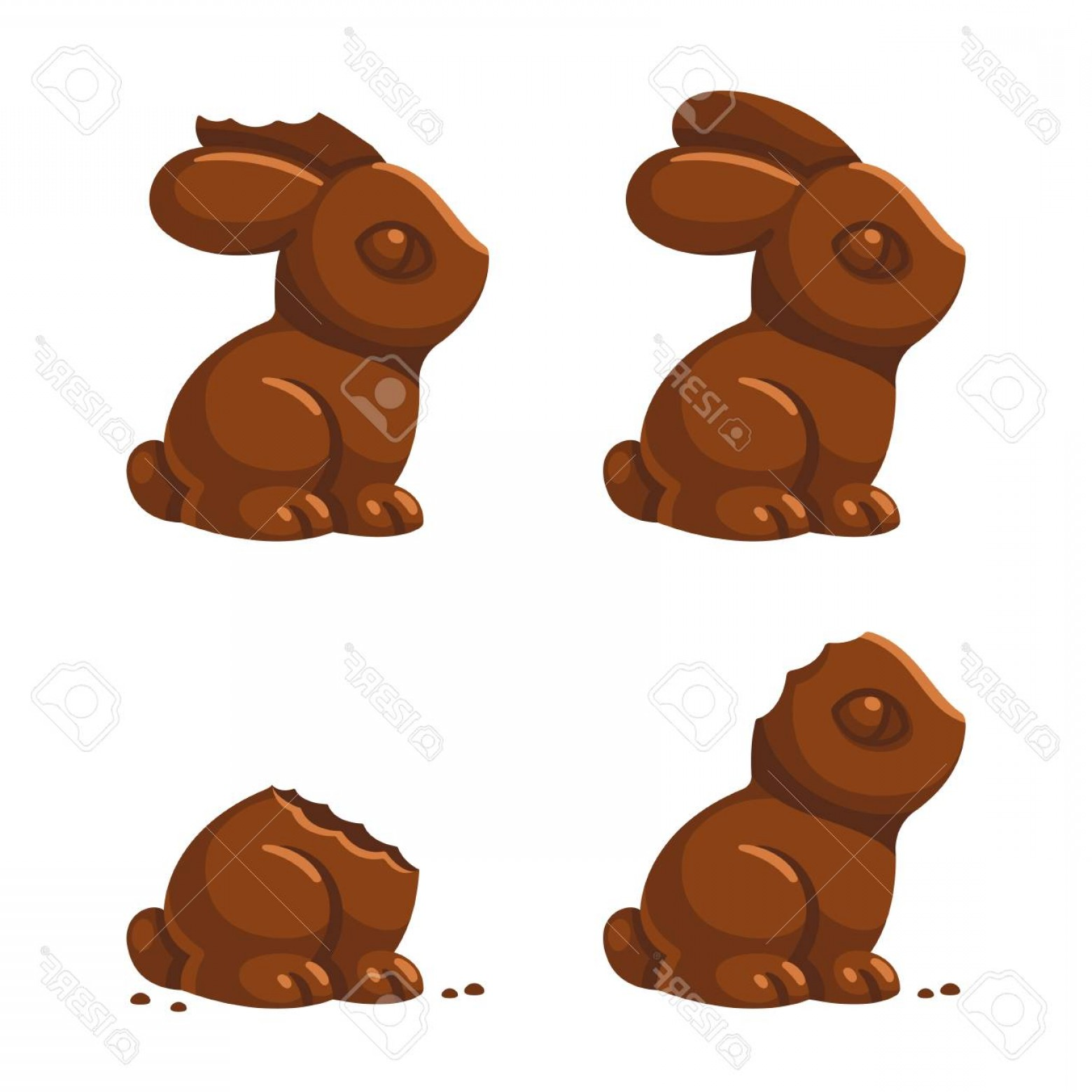 Chocolate Bunny Vector: Photostock Vector Cute Chocolate Bunny In Different Stages Of Being Eaten With A Little Bite Then Ear And Head Bitten