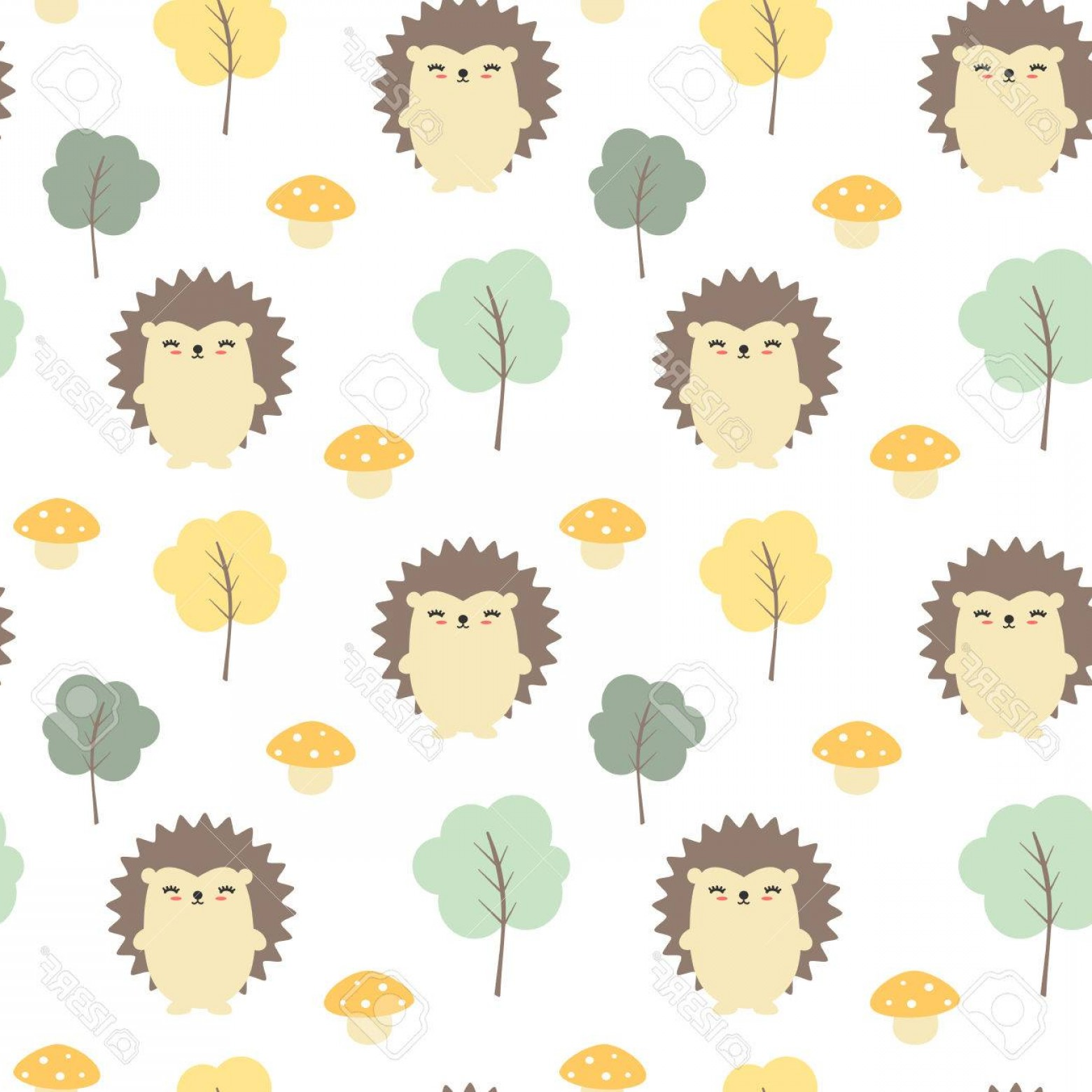 Autumn Seamless Vector: Photostock Vector Cute Fall Autumn Seamless Vector Pattern Background With Hedgehogs Trees And Mushrooms