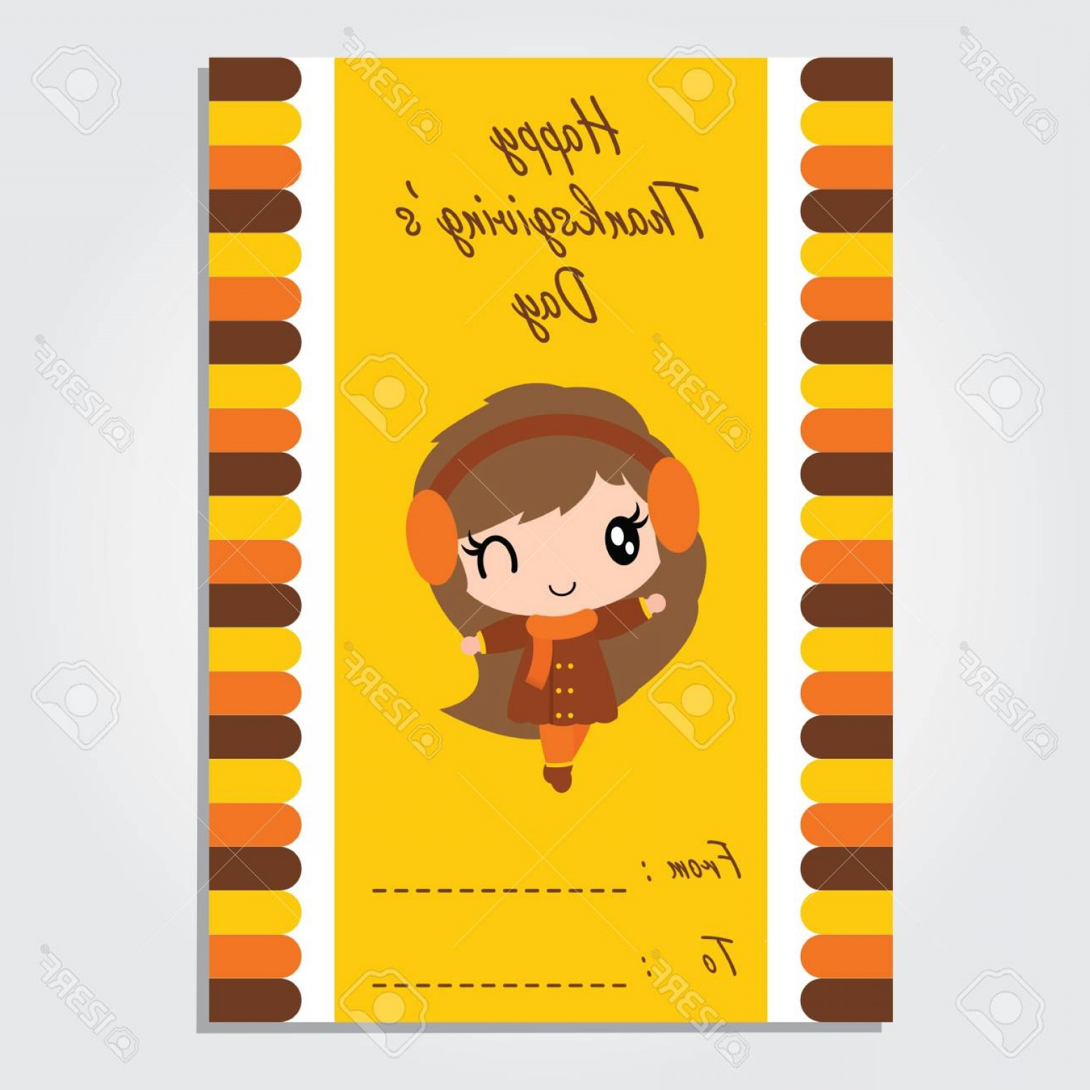 Thanksgiving Border Vector: Photostock Vector Cute Girl Is Winking On Colorful Border Vector Cartoon Illustration For Thanksgiving S Day Card Desi