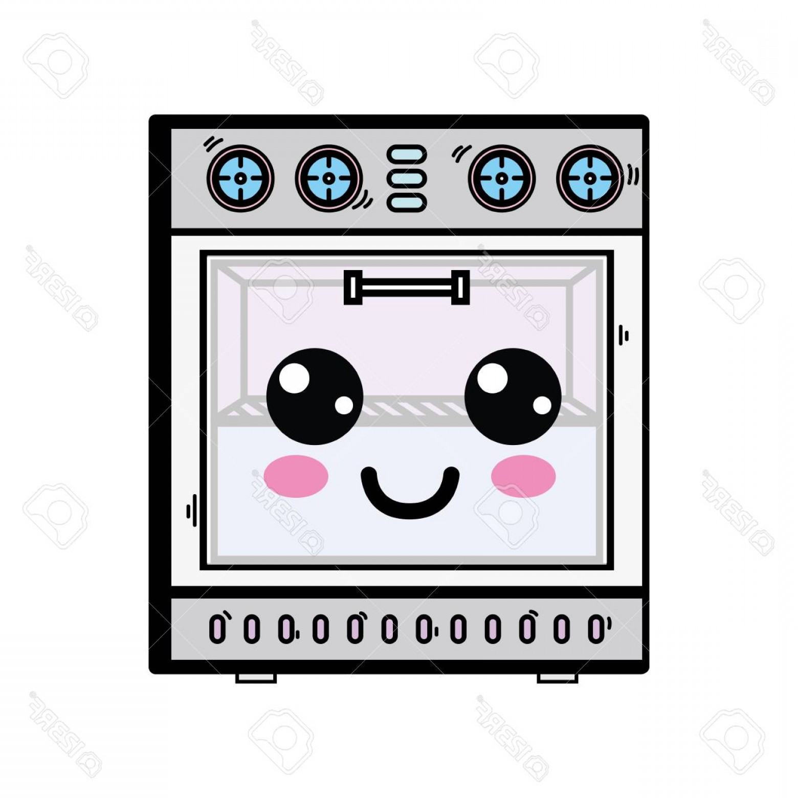 Happy Oven Vector: Photostock Vector Cute Happy Oven Technology Vector Illustration