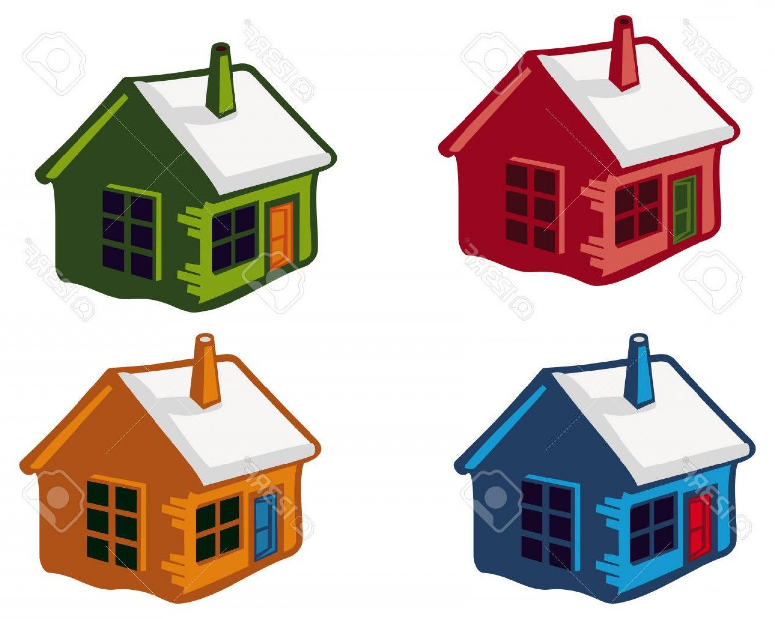 House Clip Art Vector: Photostock Vector Cute Little Houses With Snowy Roofs Vector Clip Art