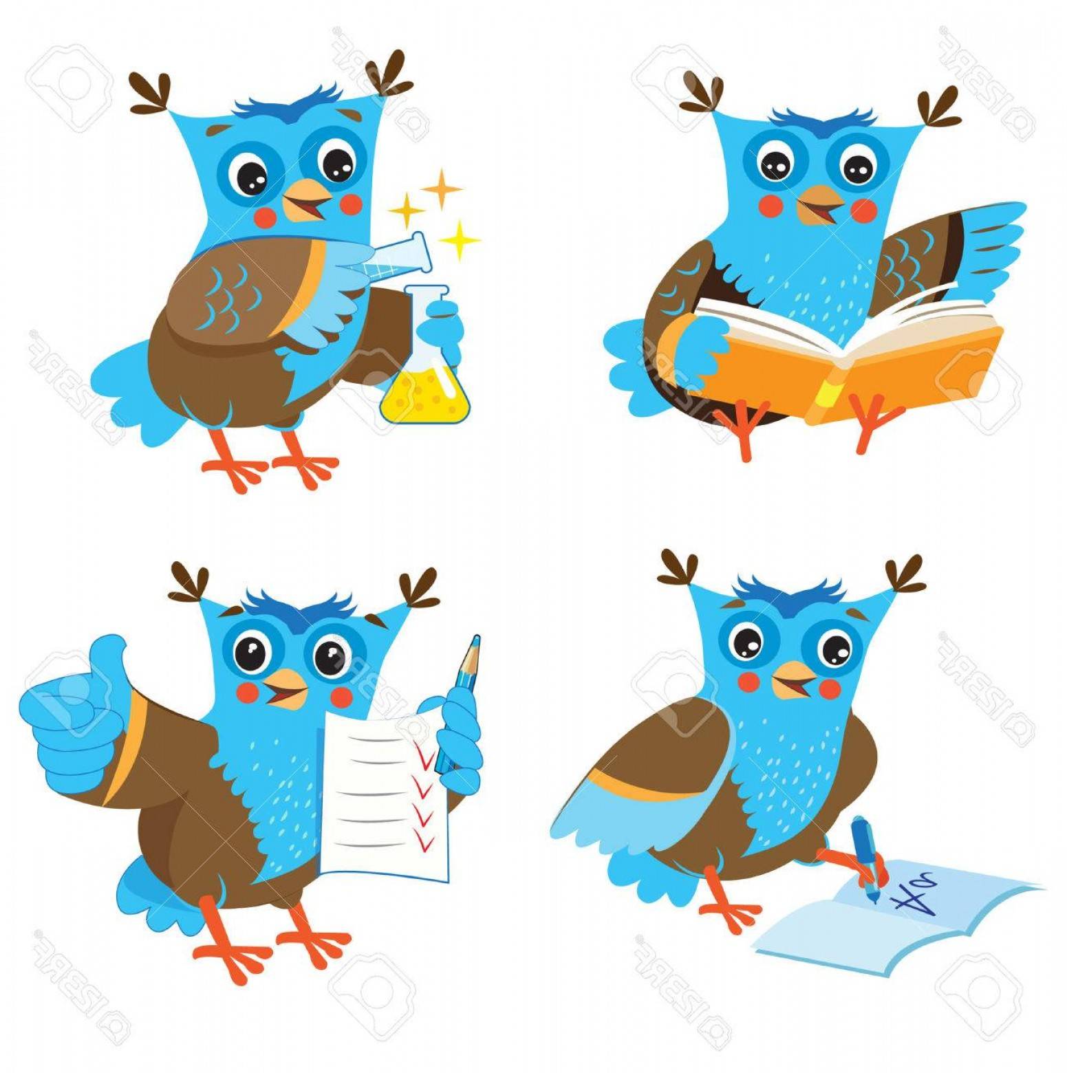 Vector Sayings Joke: Photostock Vector Cute Owl And Learning Set On A White Background Funny Owl Learn On A White Background Cartoon Vector