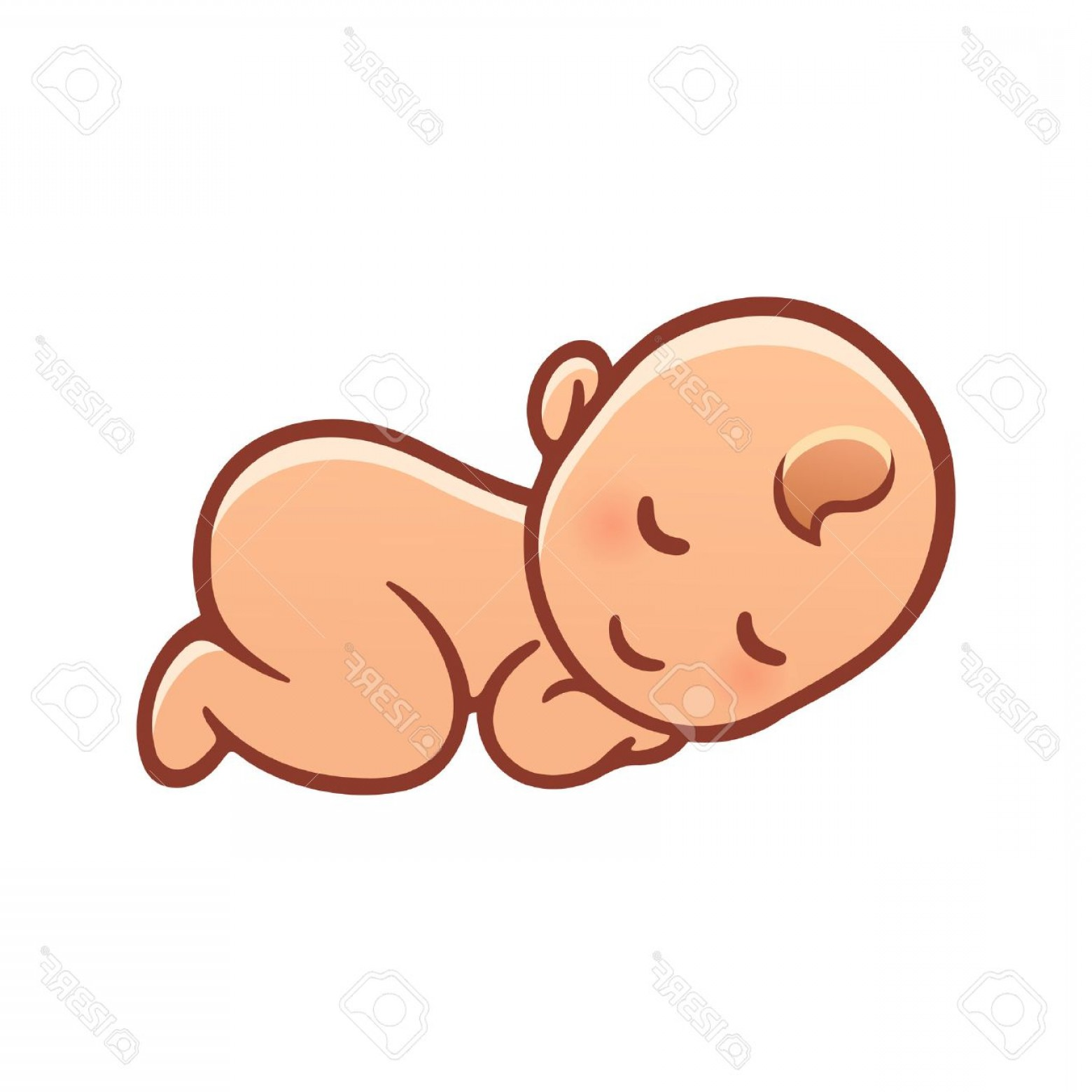Sleeping Baby Vector: Photostock Vector Cute Sleeping Baby Drawing Simple Cartoon Vector Illustration