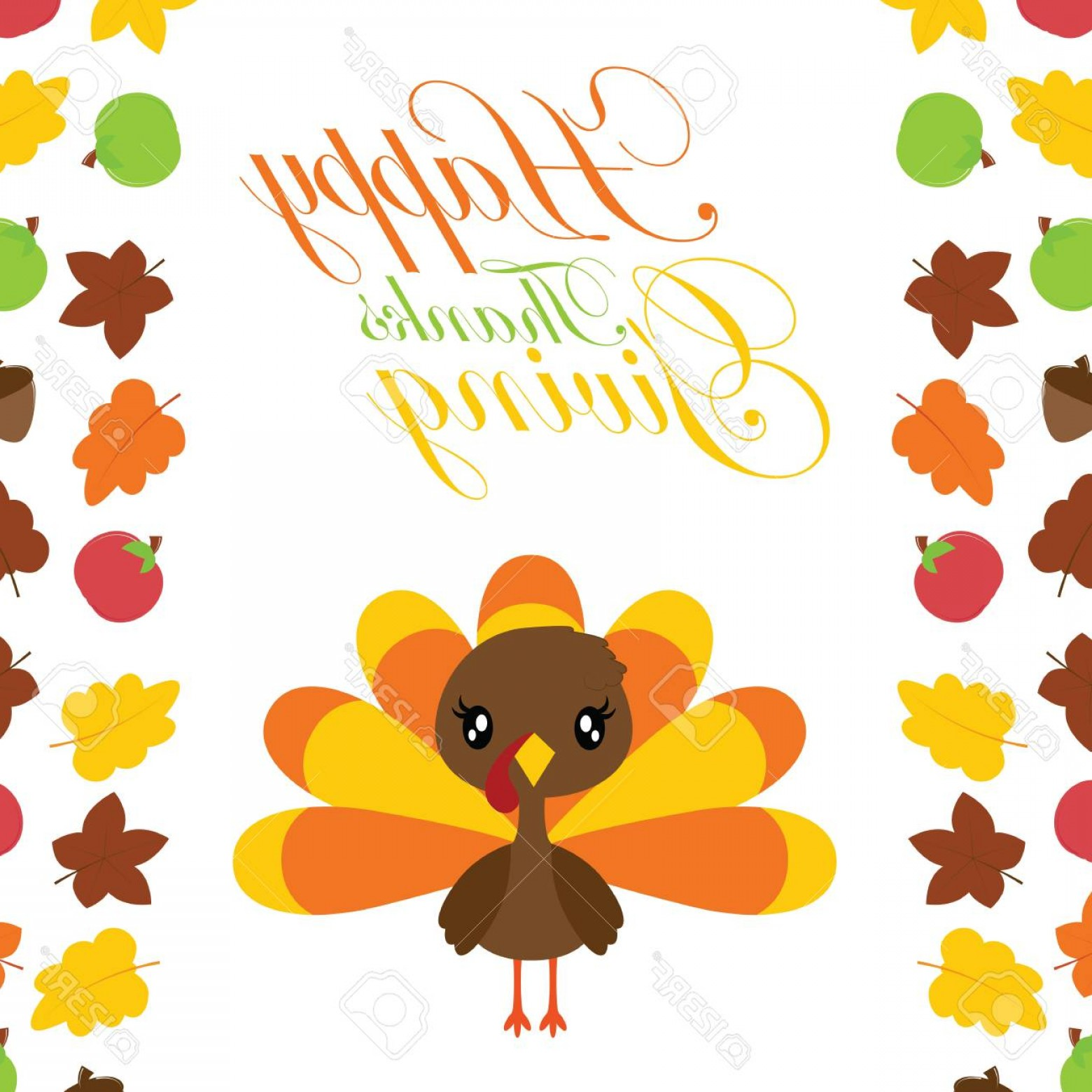 Thanksgiving Border Vector: Photostock Vector Cute Turkey Girl In The Middle Of Maples Leaves Border Vector Cartoon Illustration For Thanksgiving