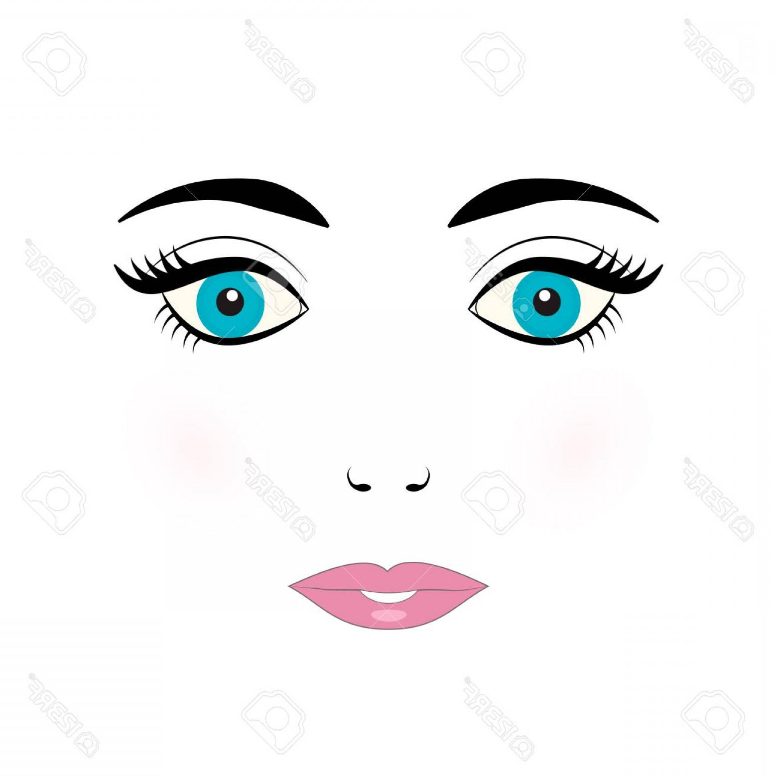 Doll Lips Vector: Photostock Vector Cute Young Woman Face Vector Illustration Doll Face With Blue Eyes Eyelashes Eyebrows And Pink Lips