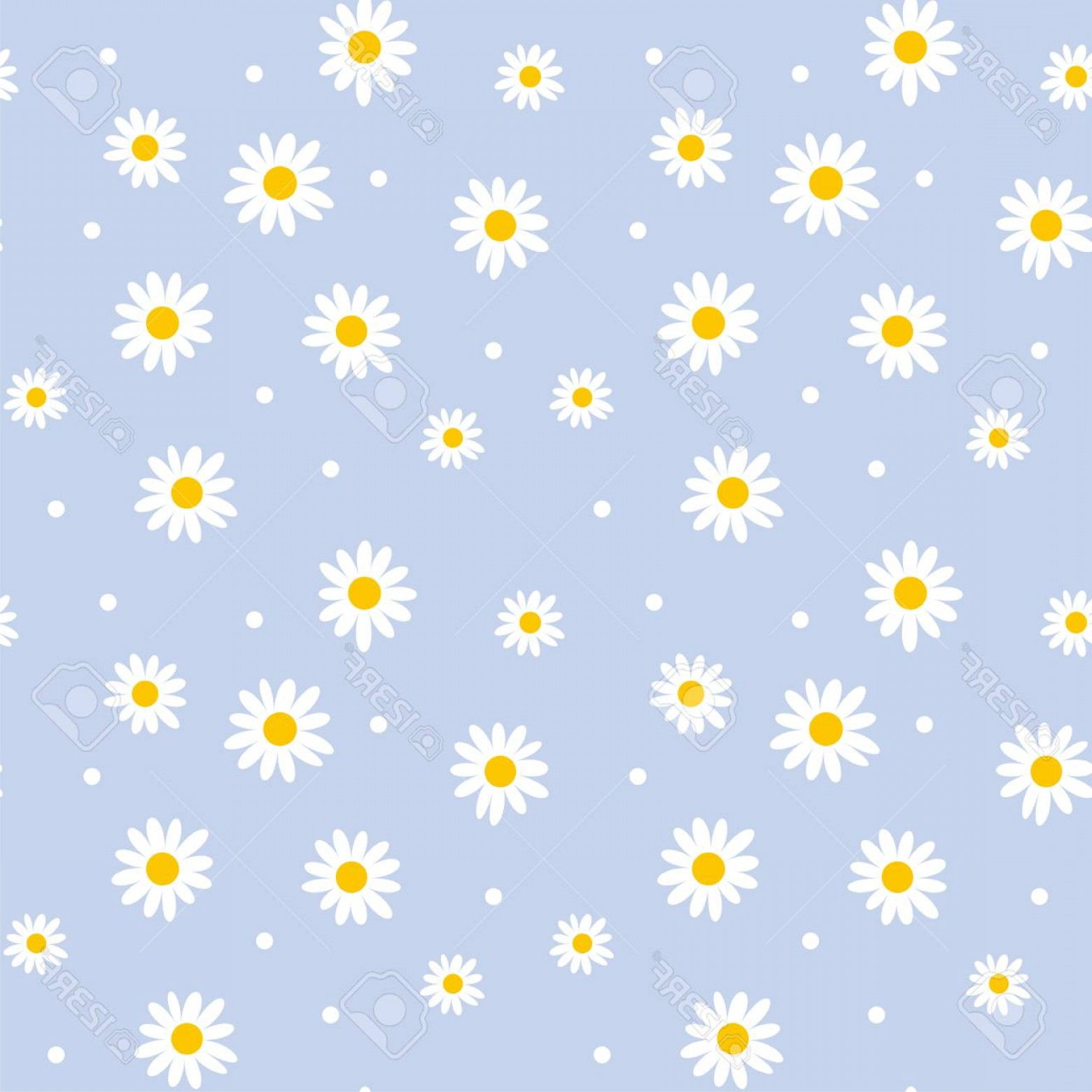 Simple Vector Daisy: Photostock Vector Daisy Cute Seamless Pattern Floral Retro Style Simple Motif White Flowers On Color Background Fabric