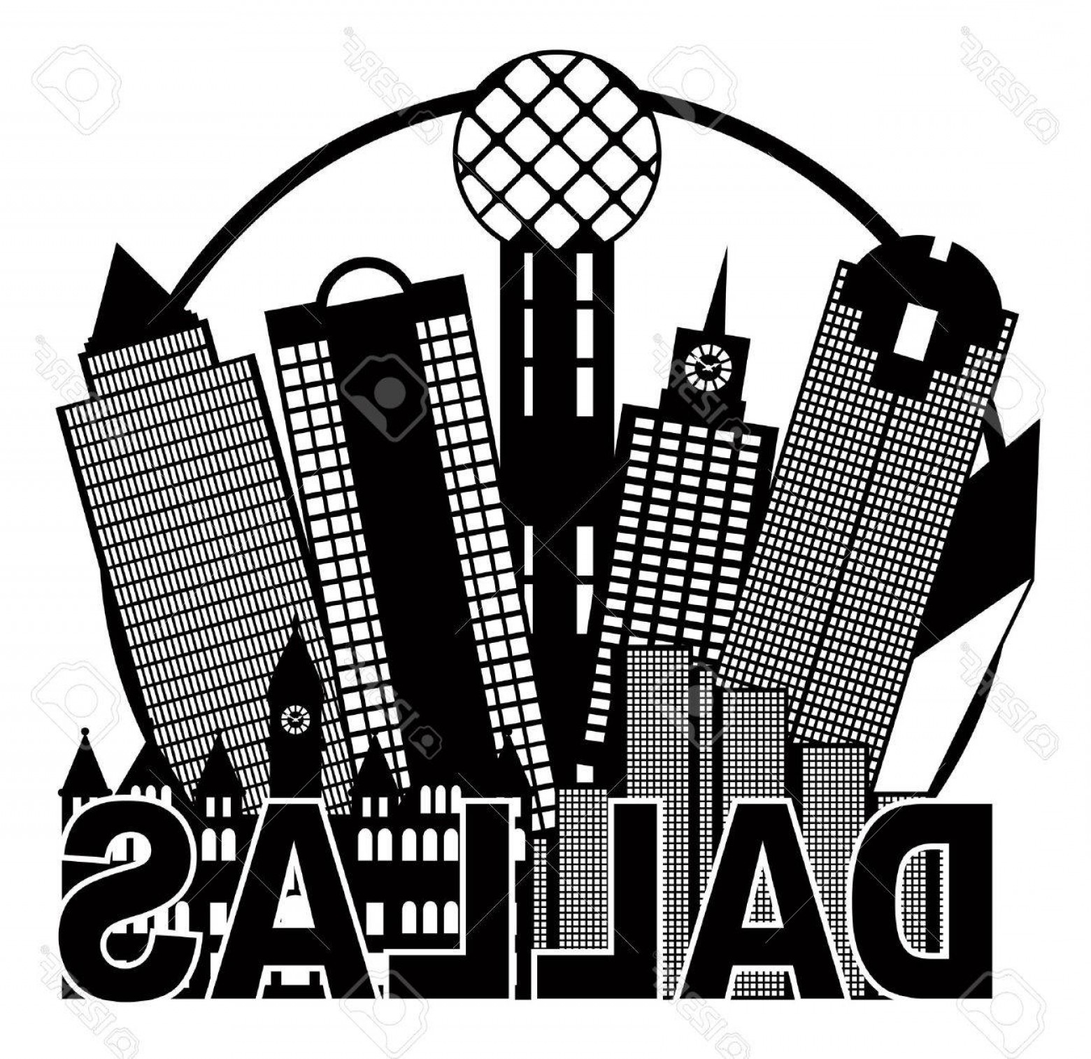 Texas Vector Drawing: Photostock Vector Dallas Texas City Skyline Outline In Circle Black And White Silhouette Illustration