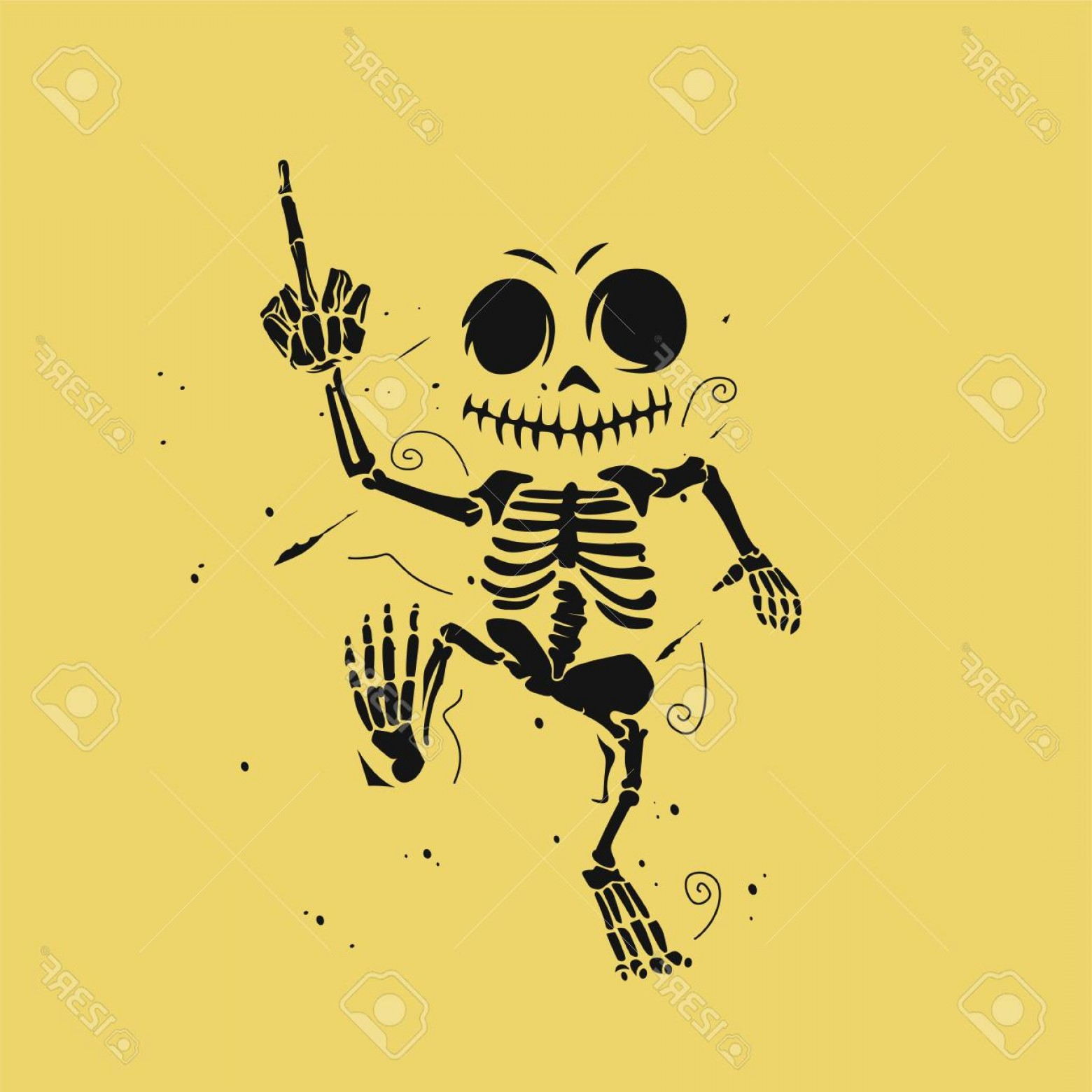 Vector Skeleton Circle Dancing: Photostock Vector Dancing Skeleton Illustration On Yellow Background