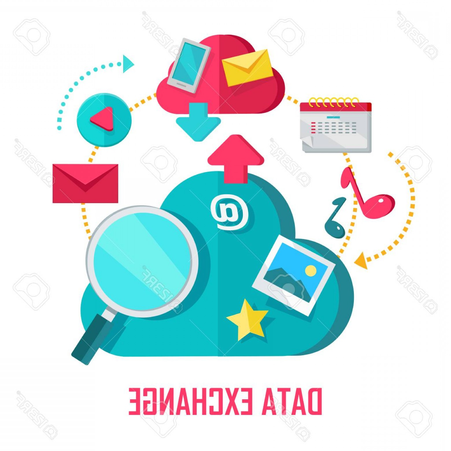 Vector Data Exchange: Photostock Vector Data Exchange Banner Networking Communication And Data Icons On White Background Data Protection Glo