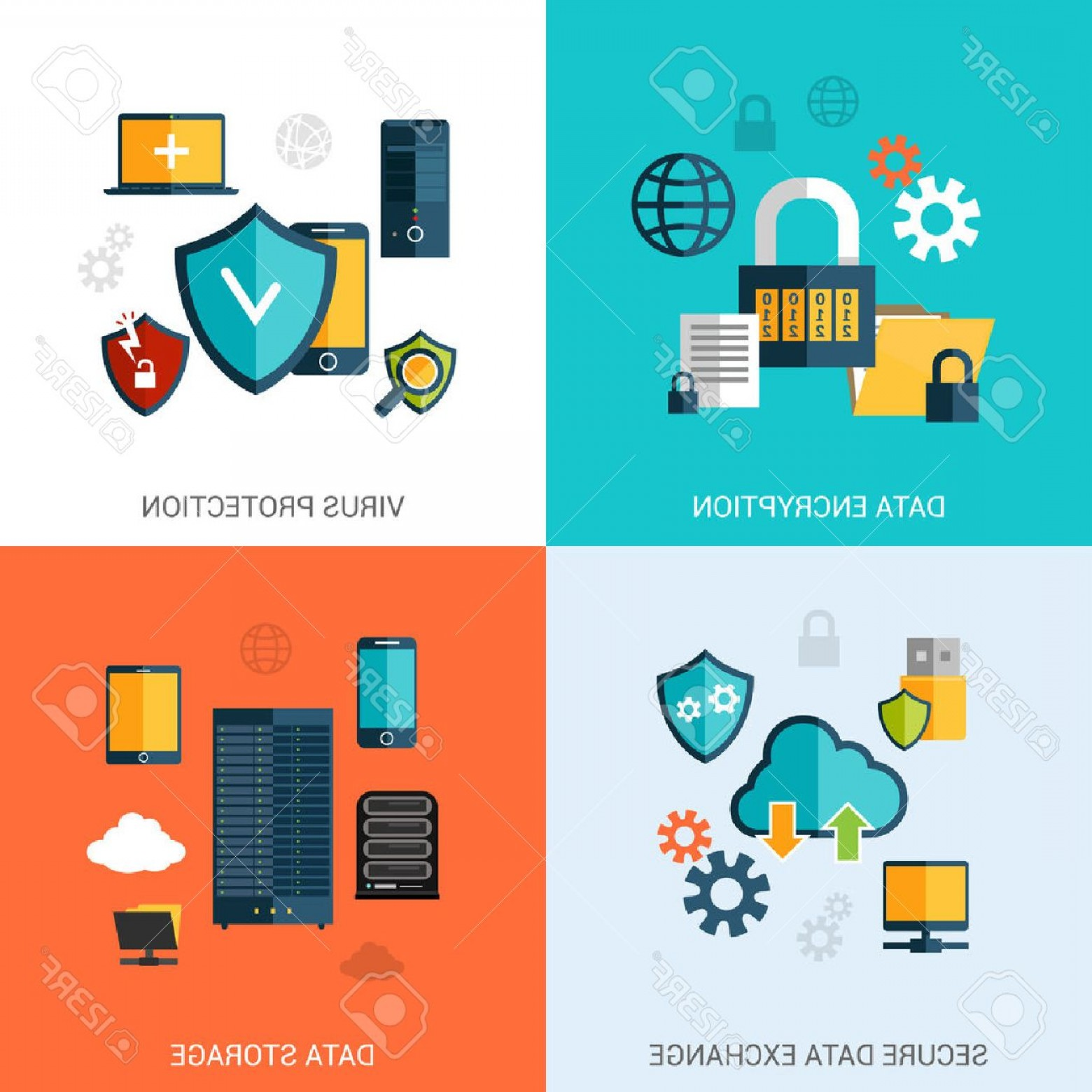 Vector Data Exchange: Photostock Vector Data Protection Set With Encryption Secure Exchange Storage Flat Icons Isolated Vector Illustration