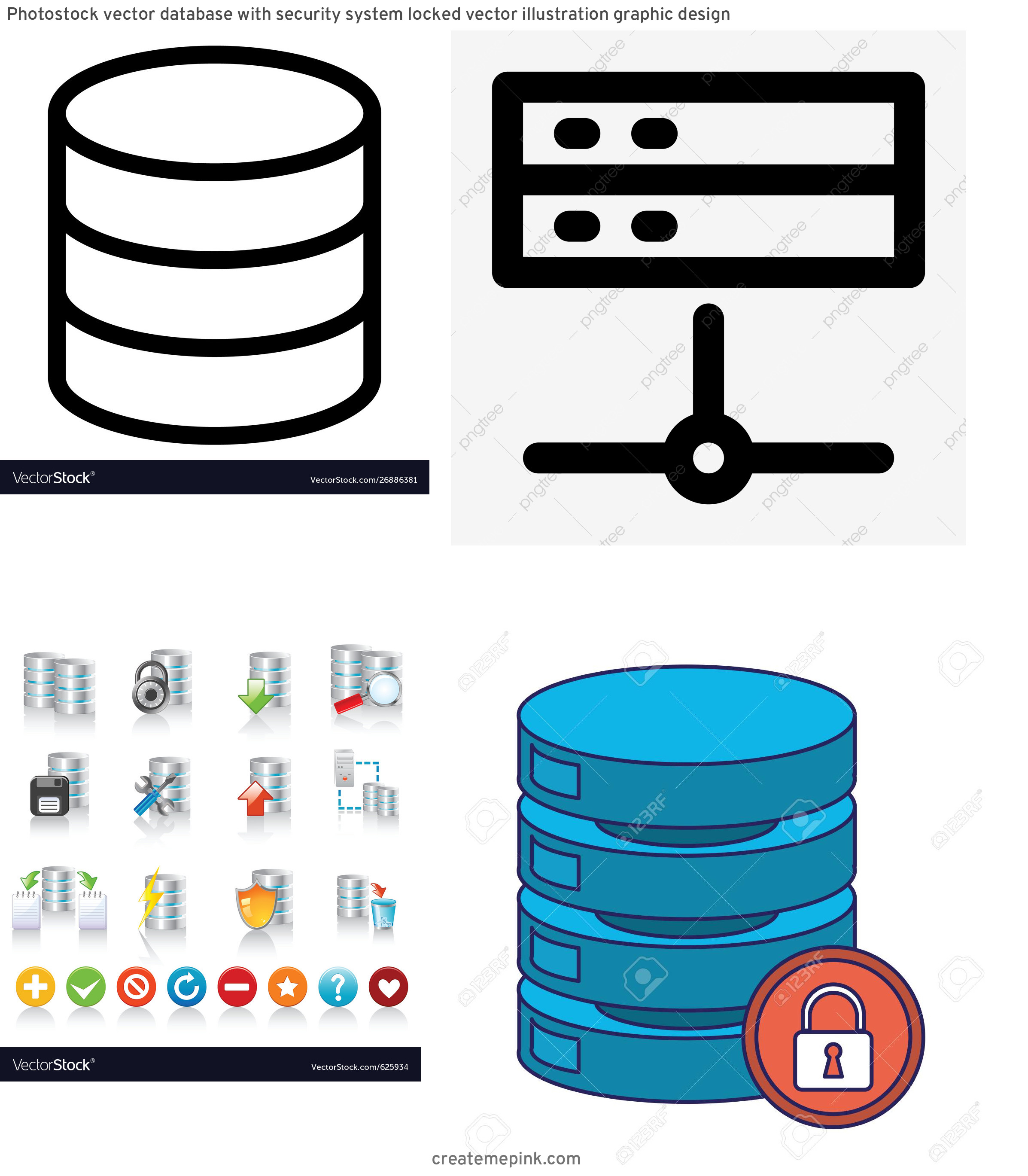 Database Vector Art: Photostock Vector Database With Security System Locked Vector Illustration Graphic Design