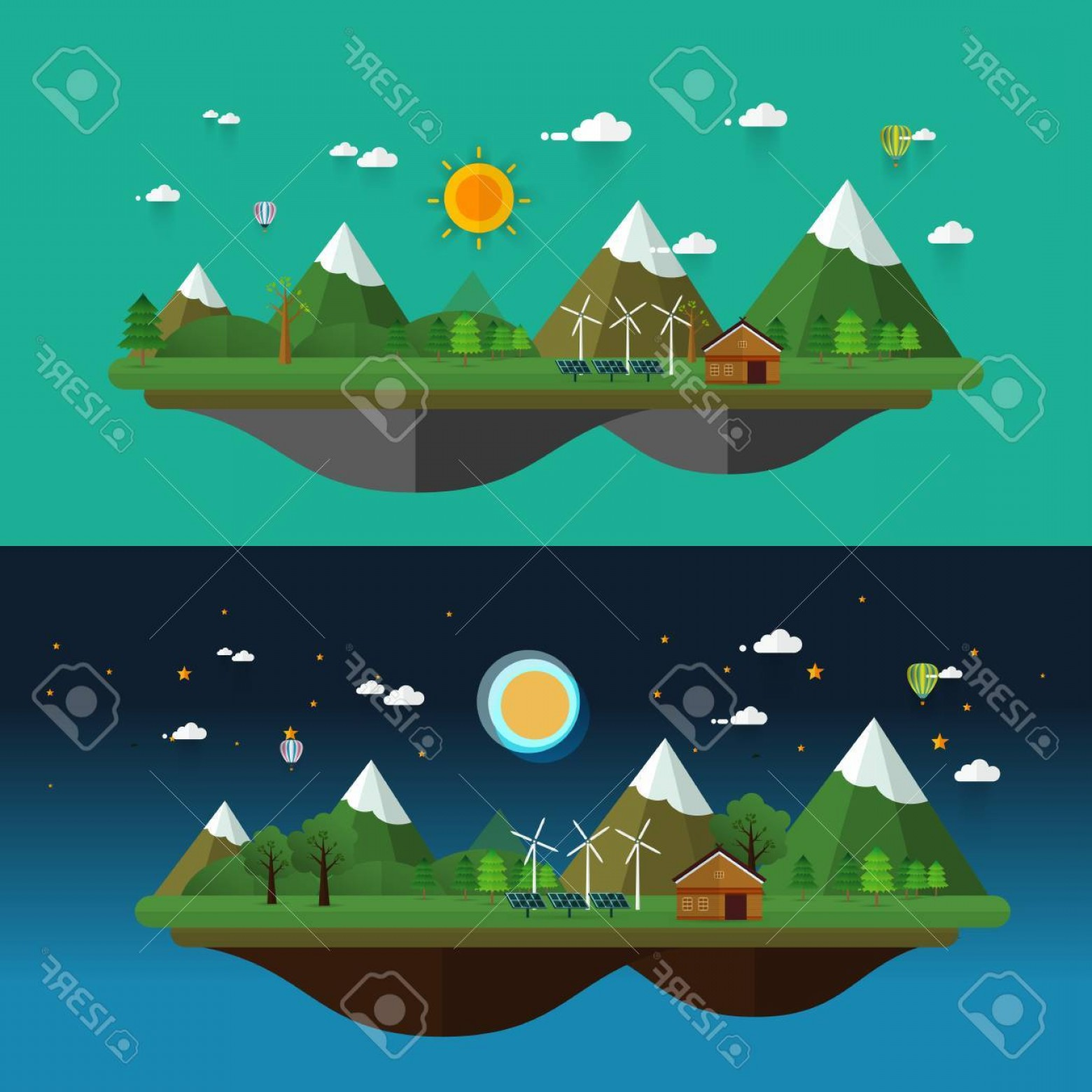 Vector Landscape Illustrations: Photostock Vector Day And Night Modern Flat Design Conceptual Vector Landscape Illustrations With Buildings